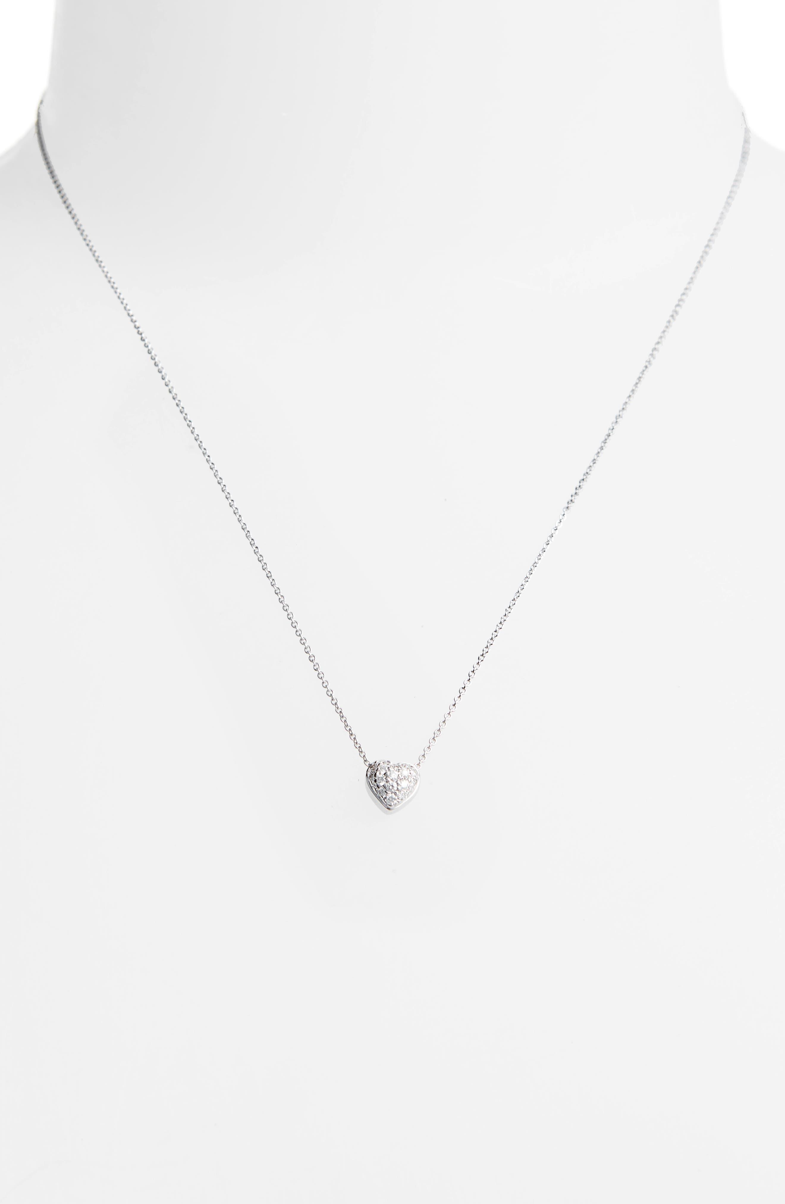 Pavé Heart Pendant Necklace,                             Alternate thumbnail 2, color,                             Puffed Heart