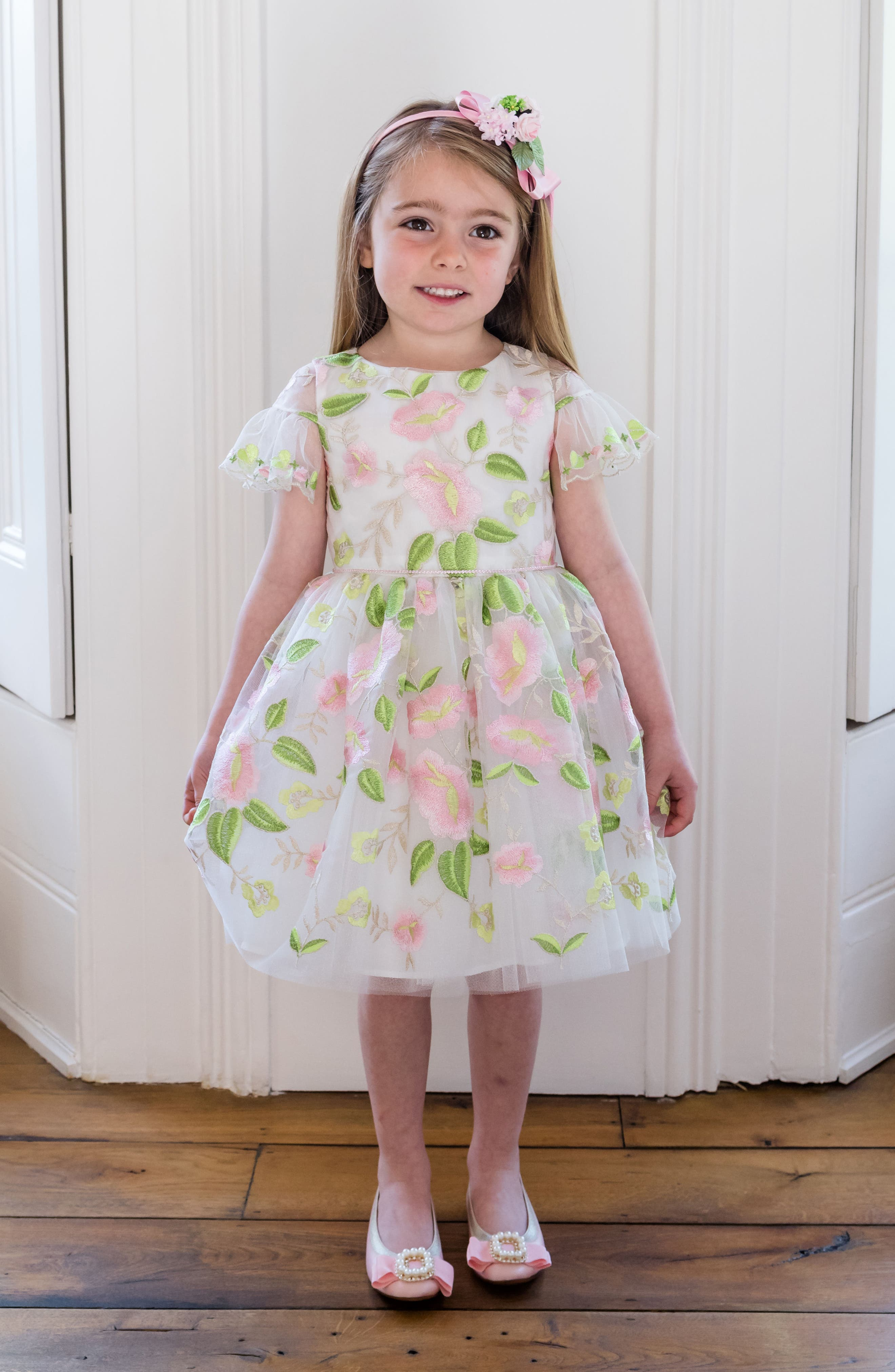 Embroidered Tulle Party Dress,                             Alternate thumbnail 3, color,                             Ivory/ Pink/ Green