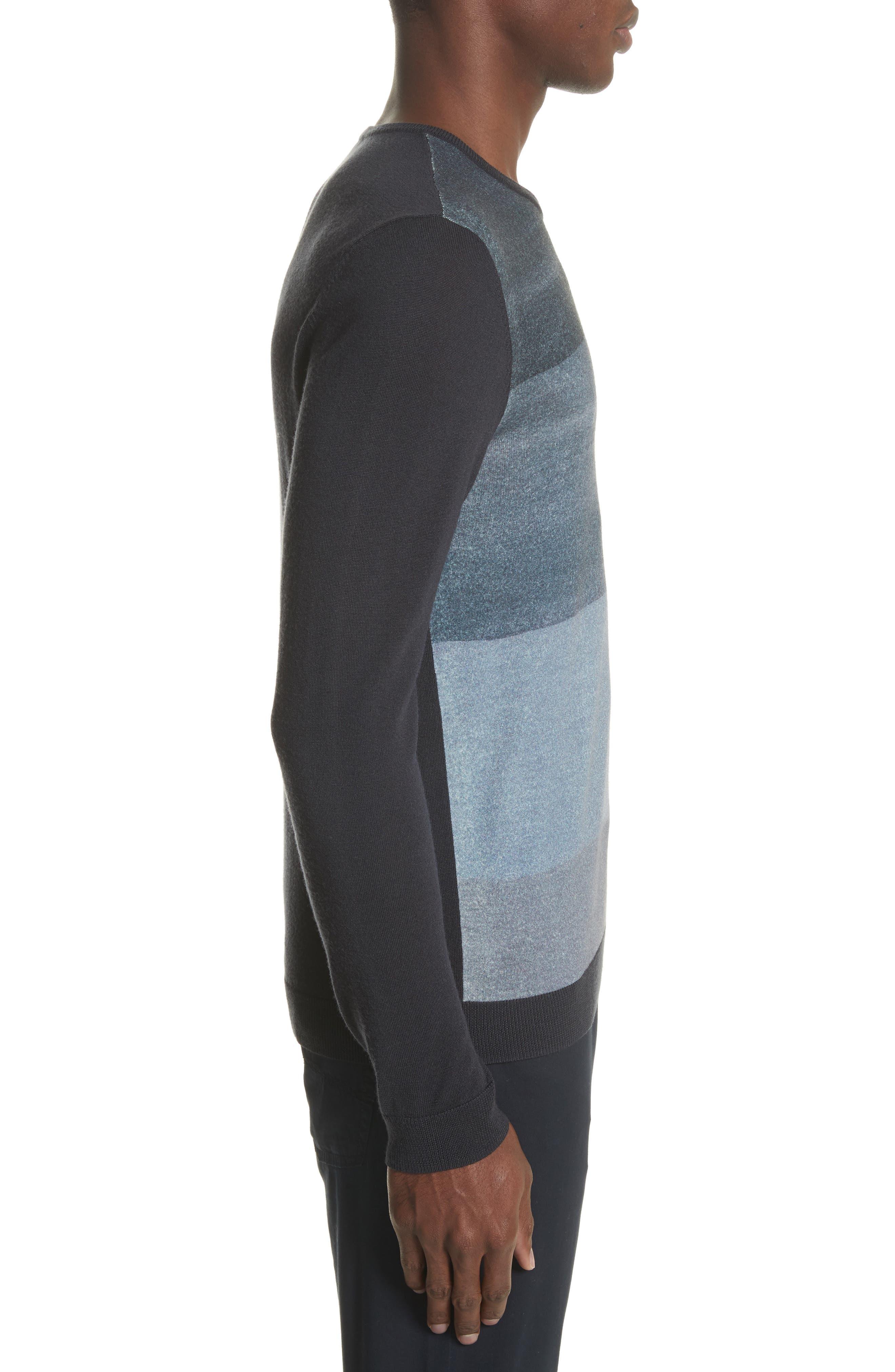 Crewneck Colorblock Slim Fit Sweater,                             Alternate thumbnail 3, color,                             Blue Multi