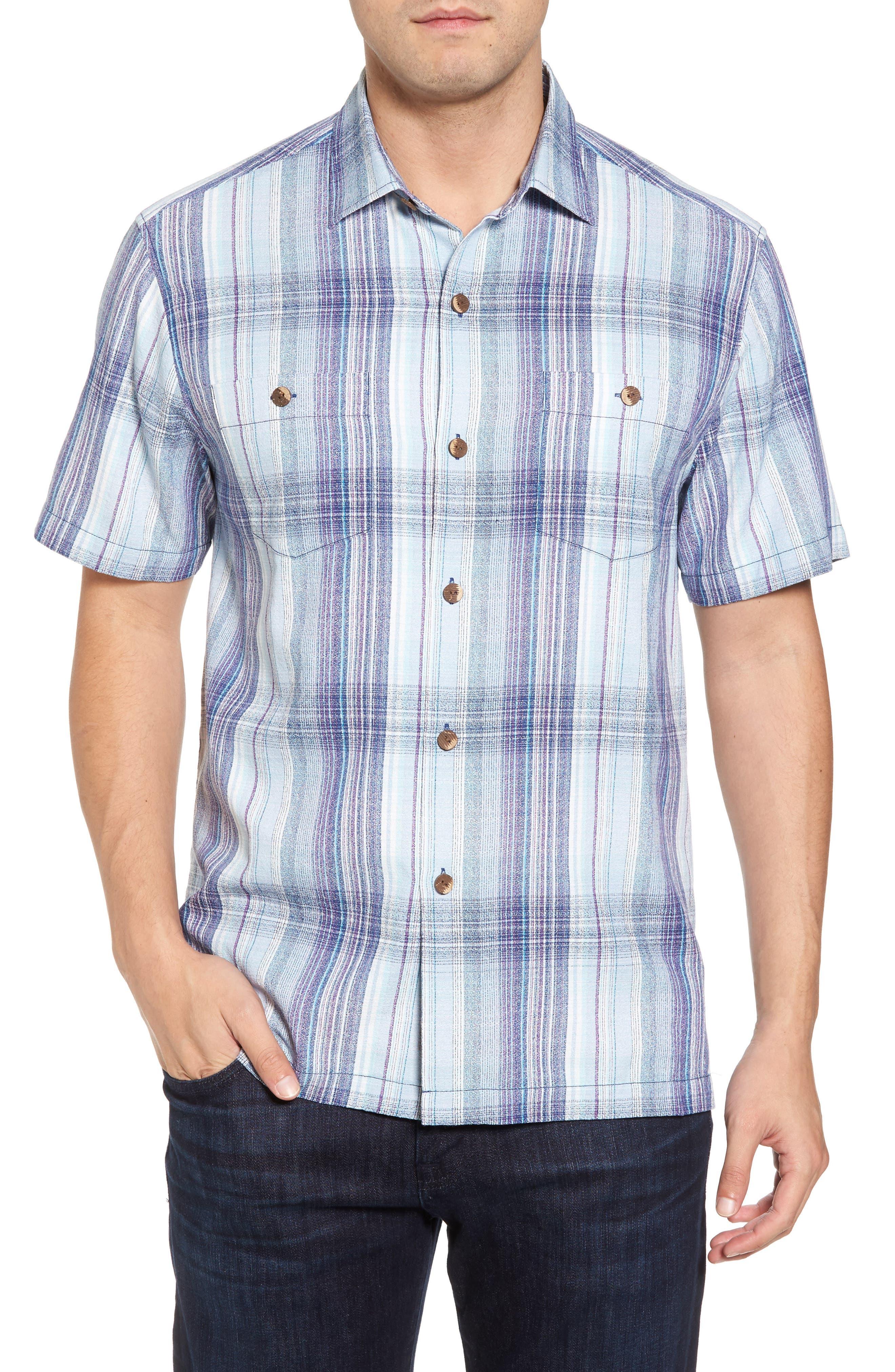 Banyan Cay Regular Fit Silk Blend Sport Shirt,                         Main,                         color, Dockside Blue