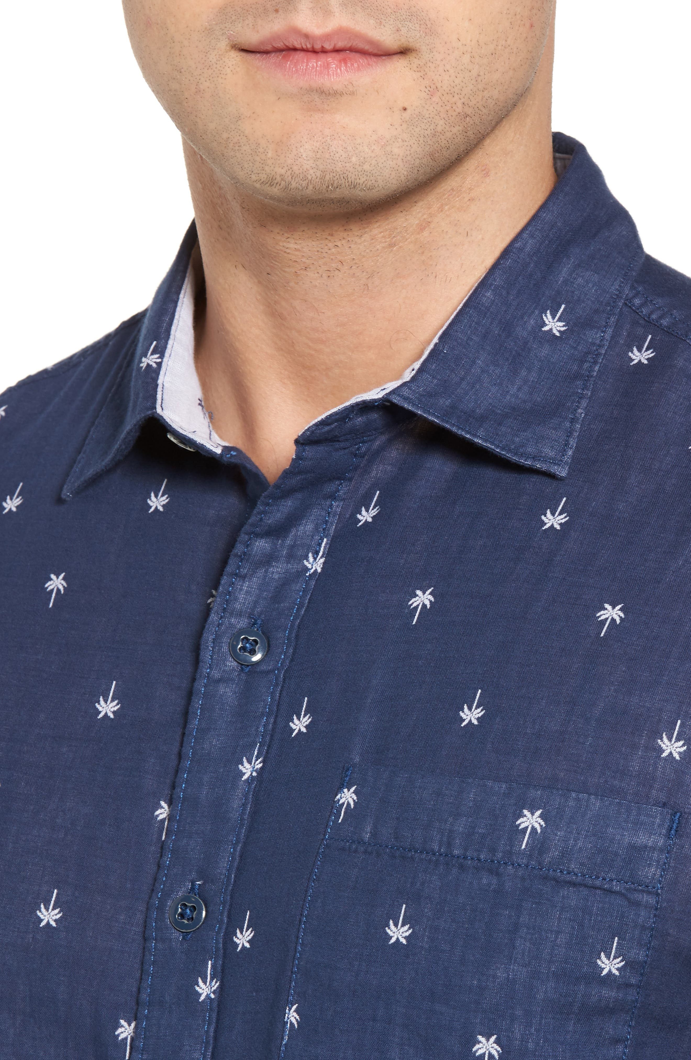 Twin Palms Embroidered Cotton Sport Shirt,                             Alternate thumbnail 4, color,                             Throne Blue