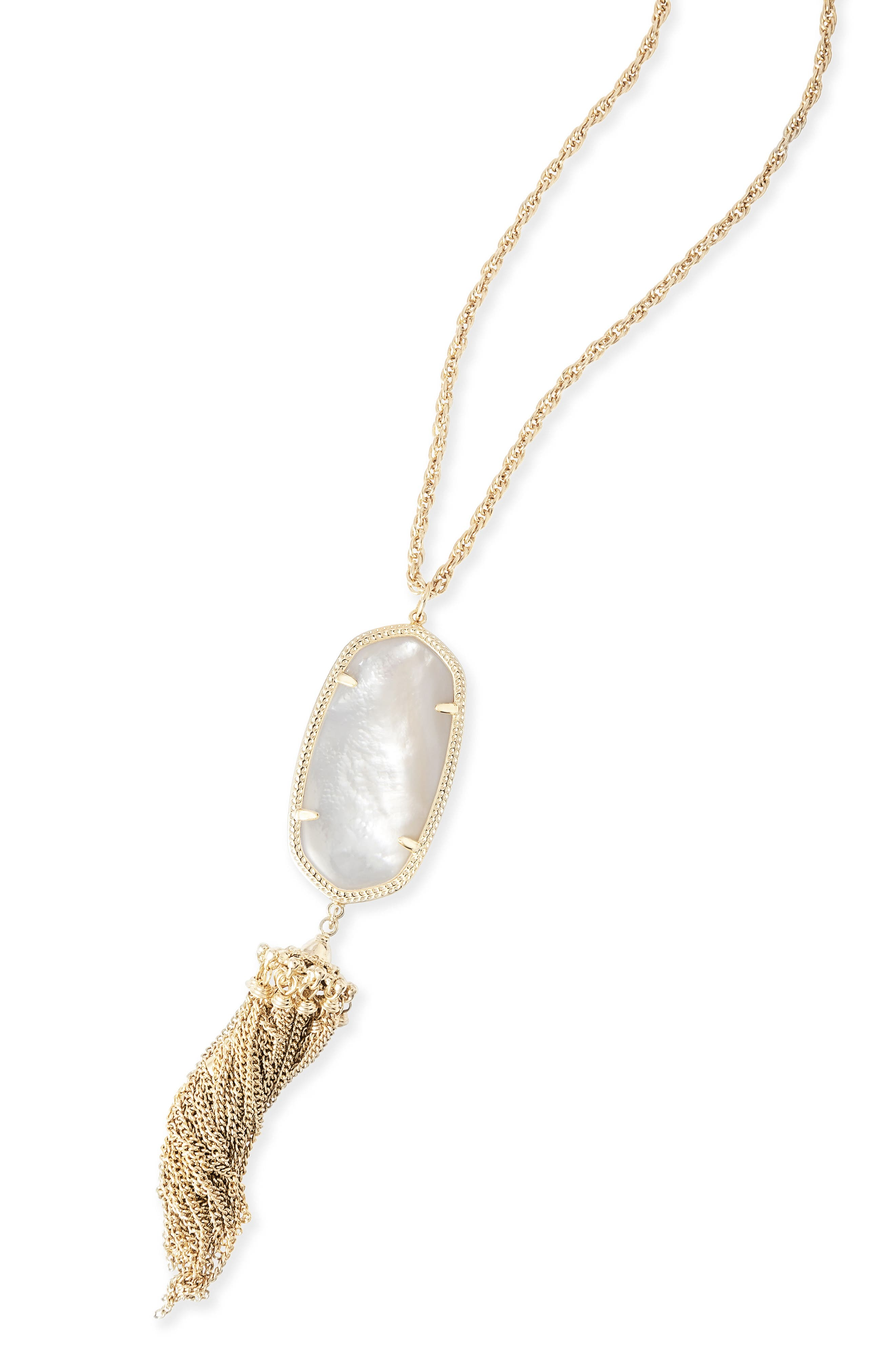 Rayne Stone Tassel Pendant Necklace,                             Alternate thumbnail 3, color,                             White Mother Of Pearl/ Gold