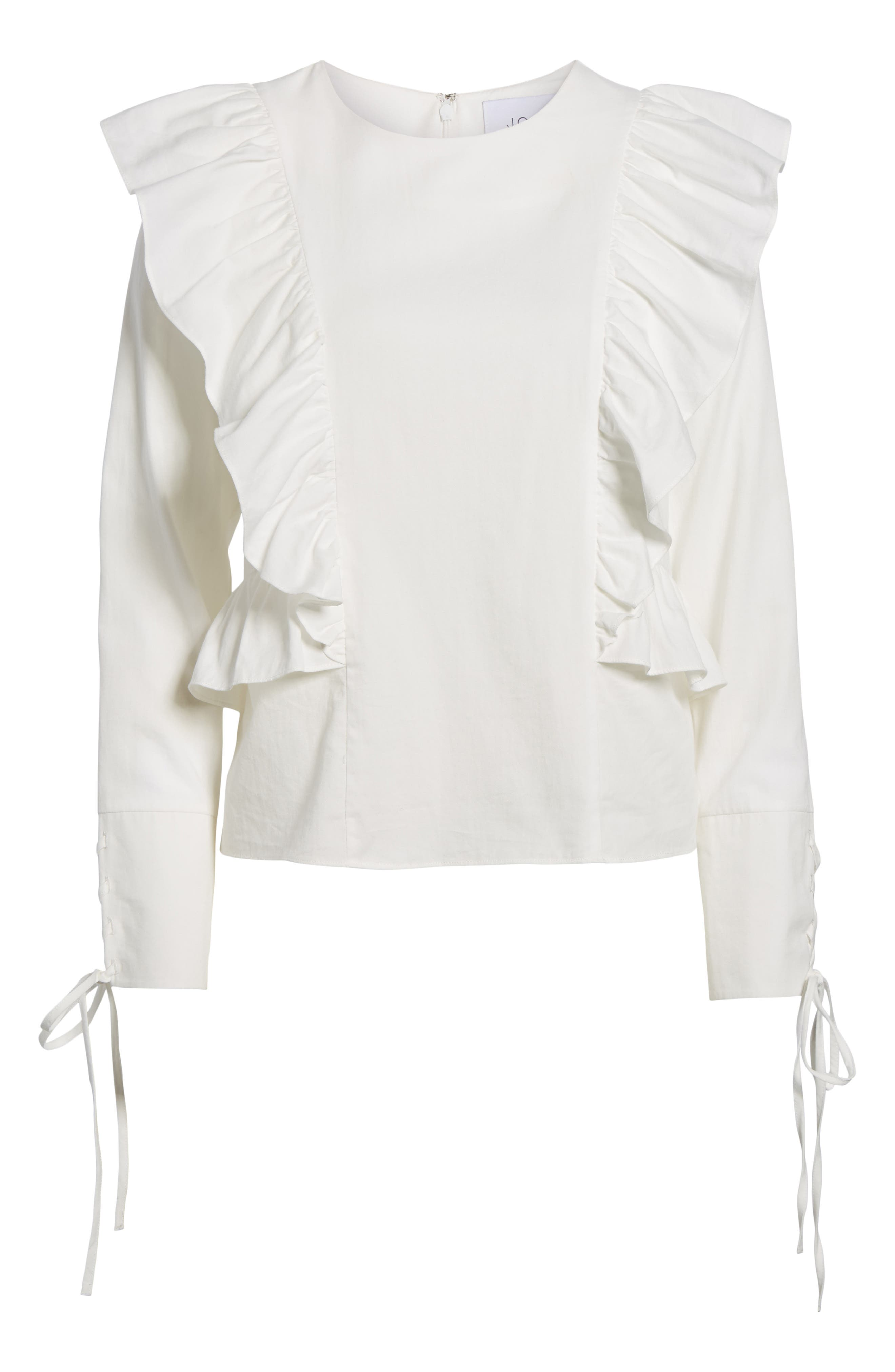 Ruffle Front Top,                             Alternate thumbnail 6, color,                             White