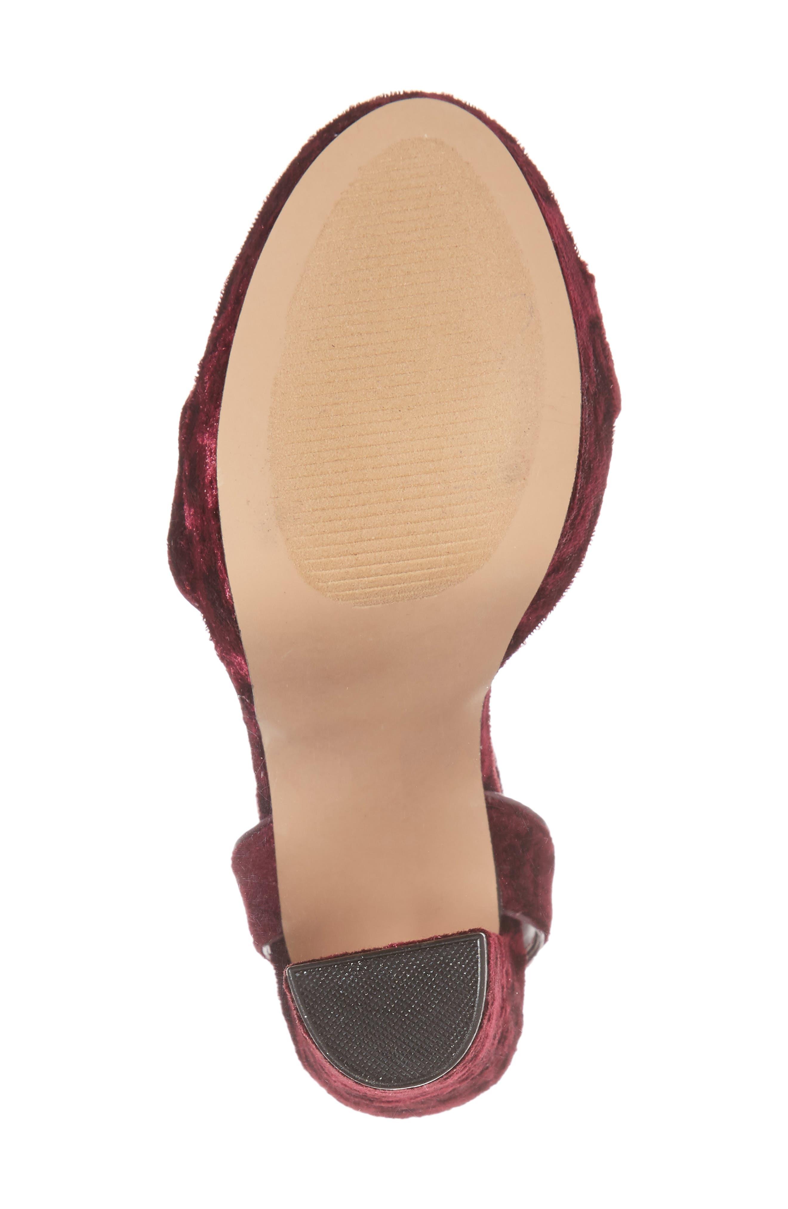 Insomnia Platform Ankle Strap Sandal,                             Alternate thumbnail 6, color,                             Burgundy Fabric