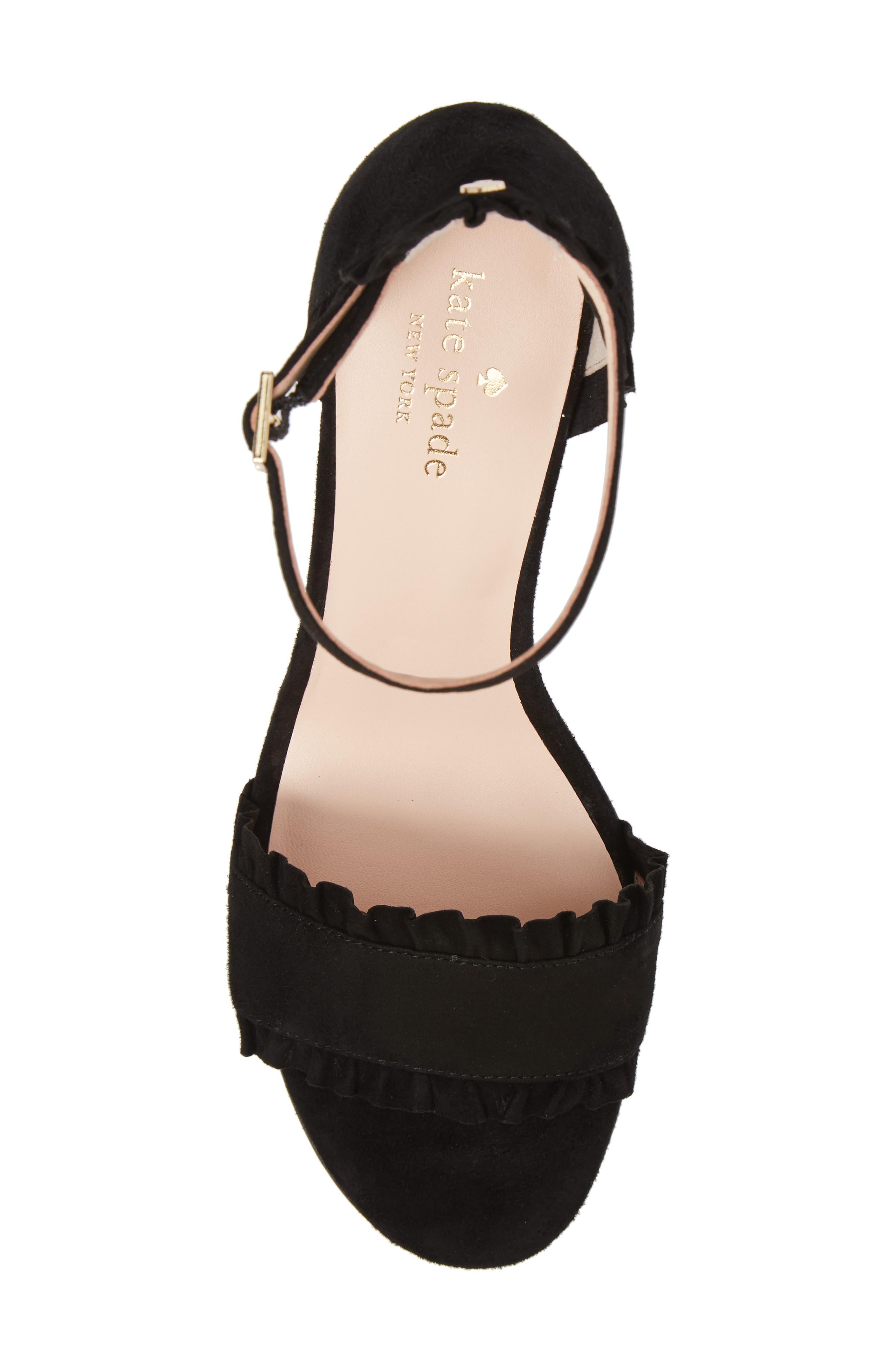 odele ruffle sandal,                             Alternate thumbnail 5, color,                             Black Suede