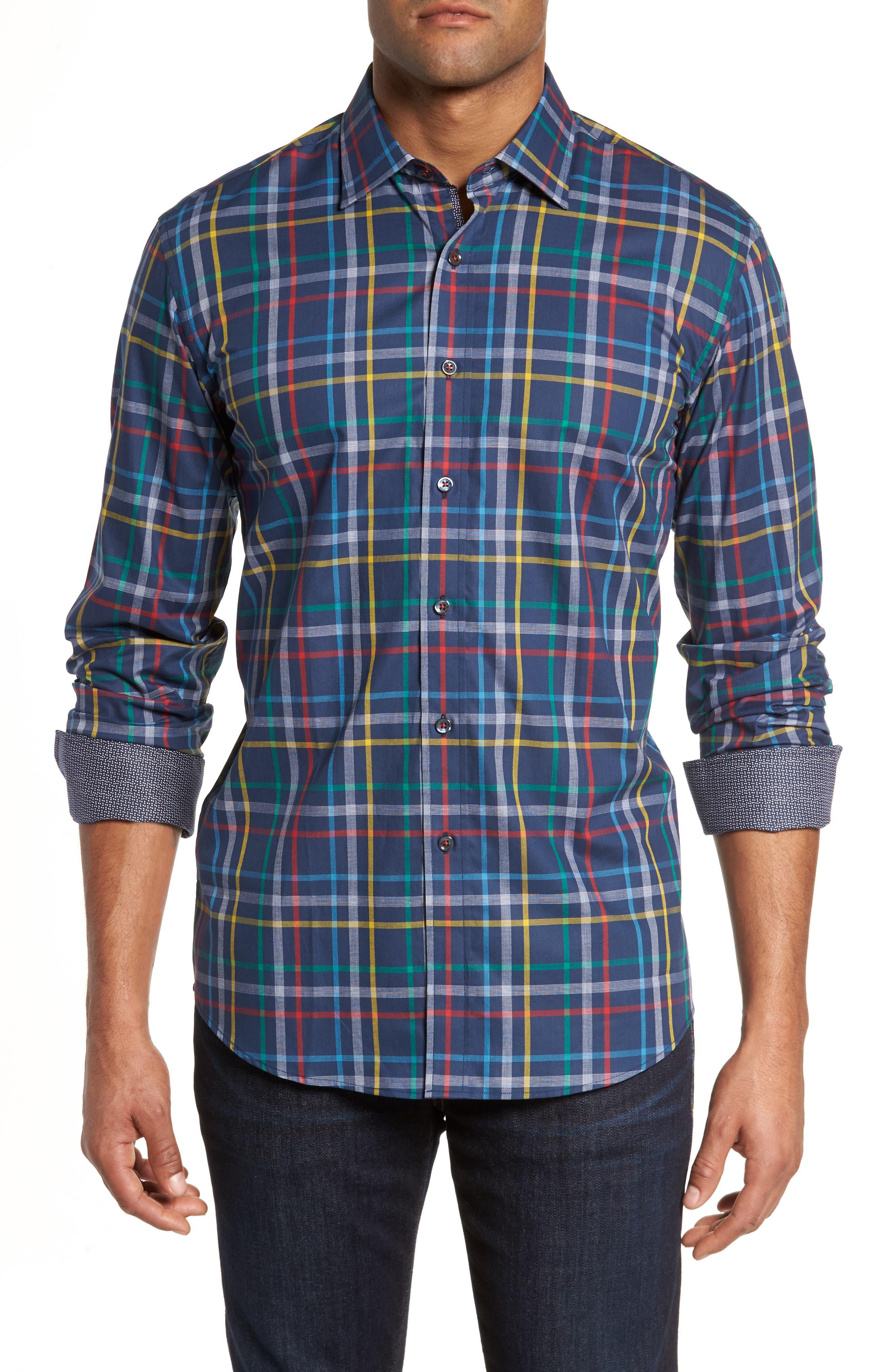 Shaped Fit Plaid Sport Shirt,                             Main thumbnail 1, color,                             Navy