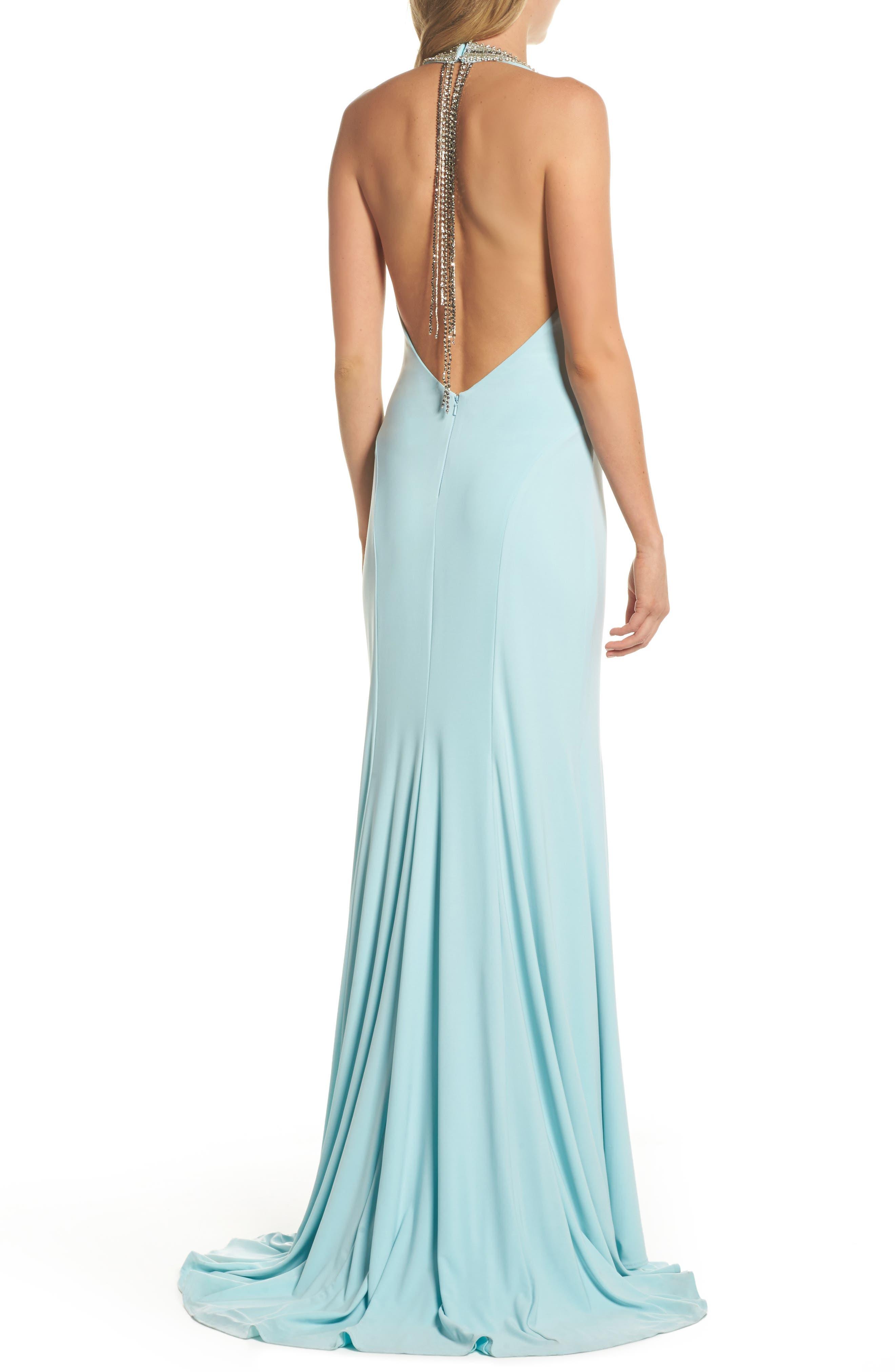 Alternate Image 2  - Mac Duggal Beaded Halter Neck Gown