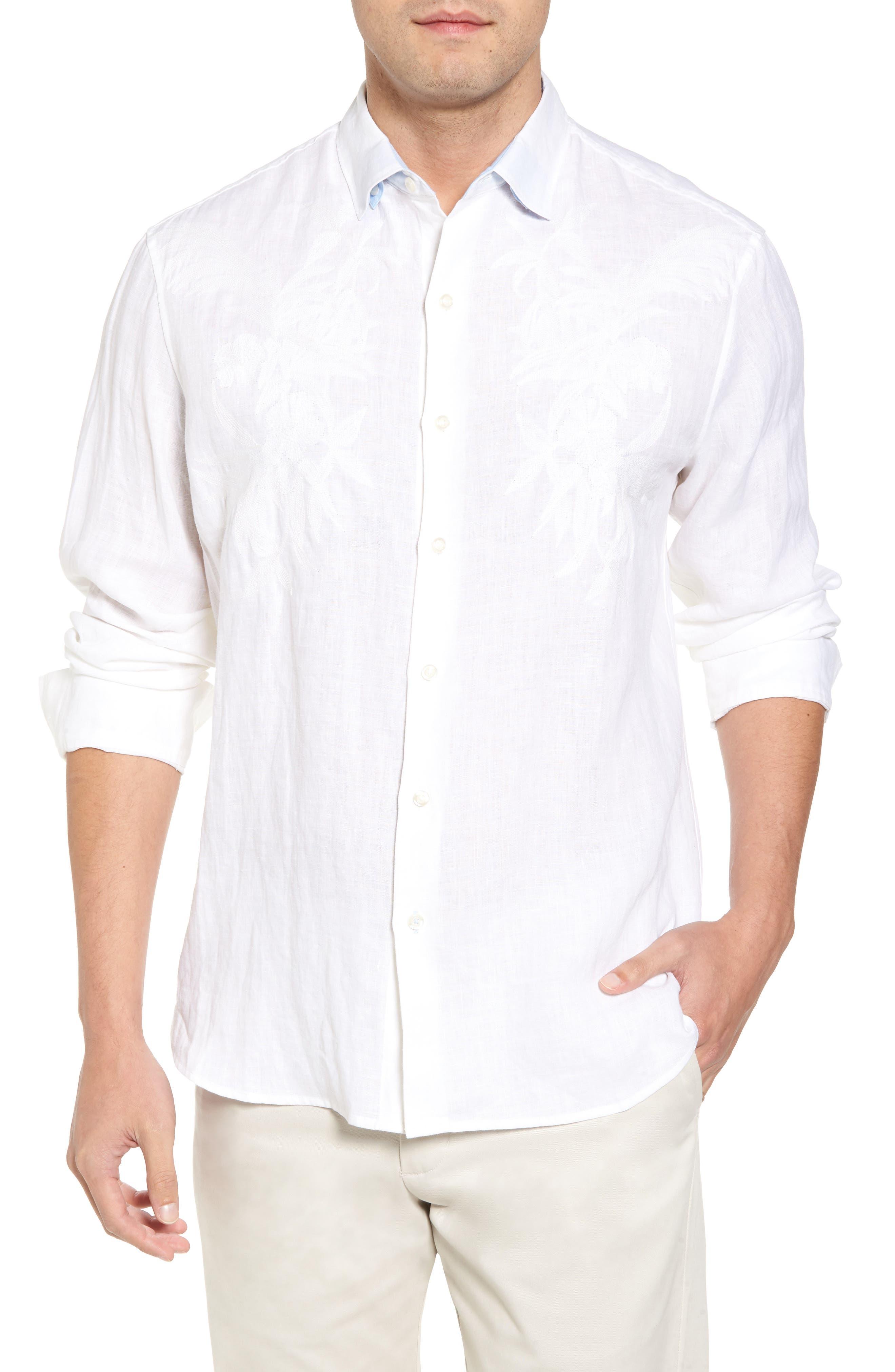 Down the Isle Regular Fit Linen Sport Shirt,                             Main thumbnail 1, color,                             White