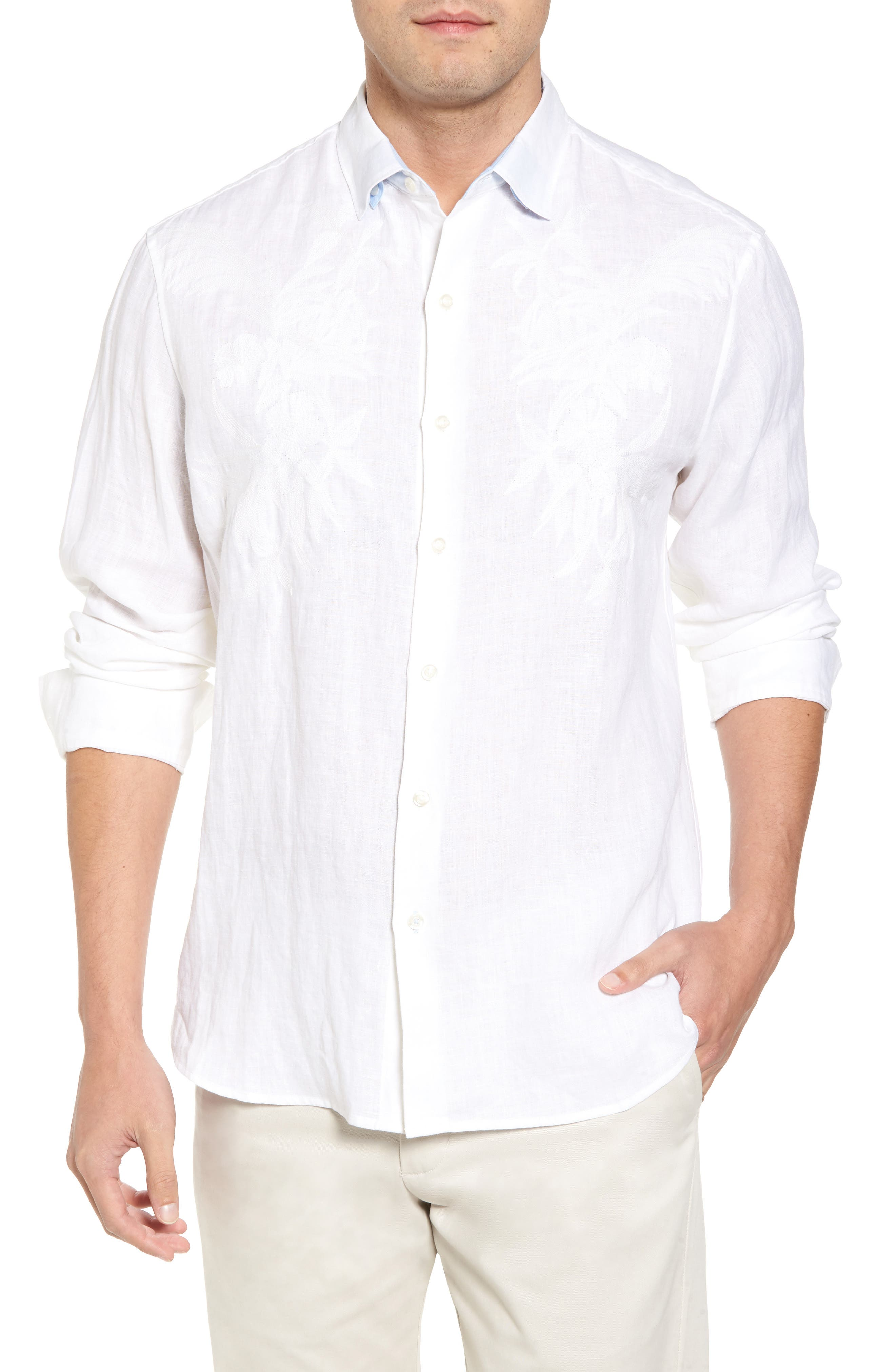 Down the Isle Regular Fit Linen Sport Shirt,                         Main,                         color, White