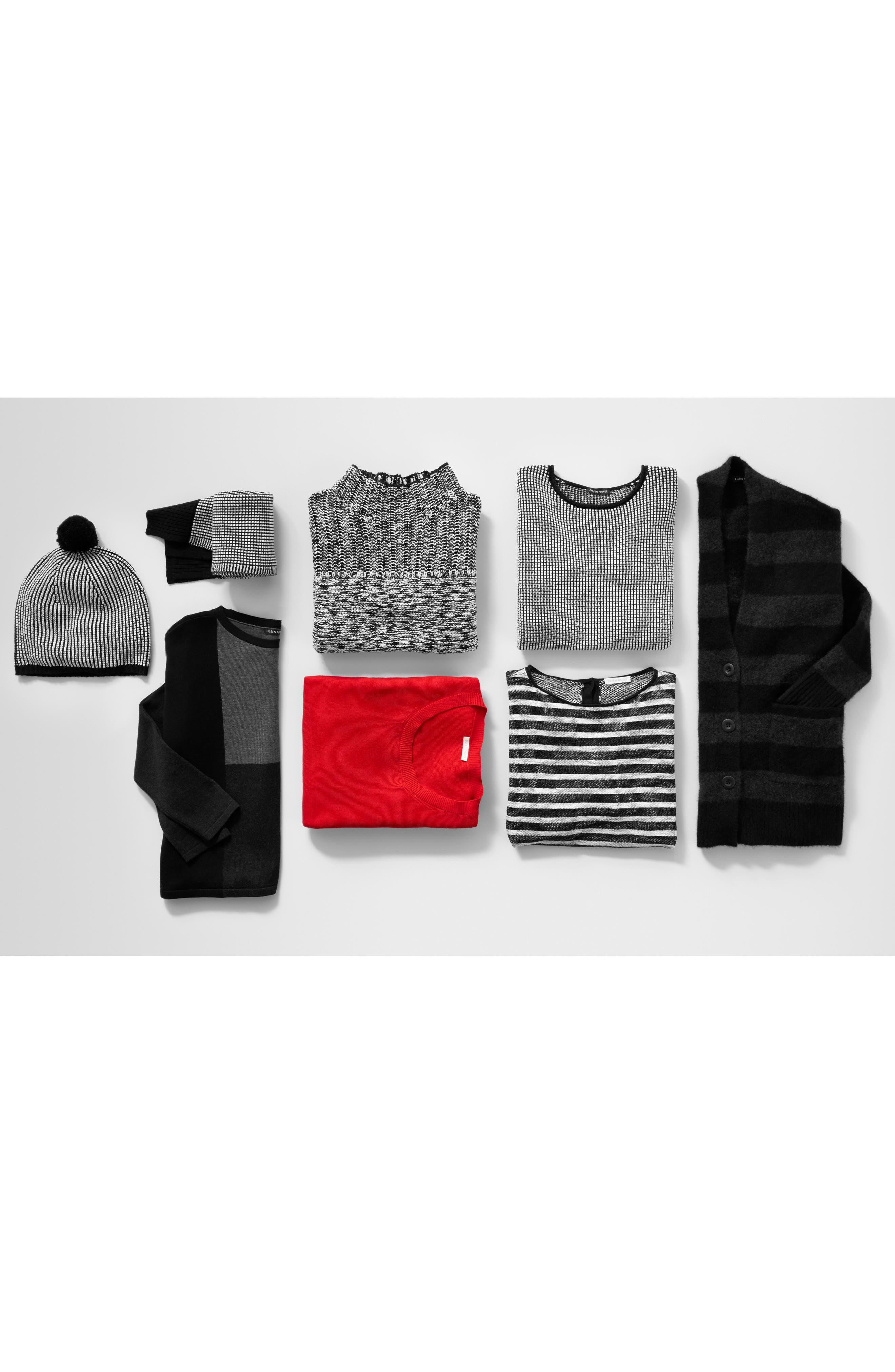 Textured Merino Wool Sweater,                             Alternate thumbnail 2, color,                             Black/ Soft White