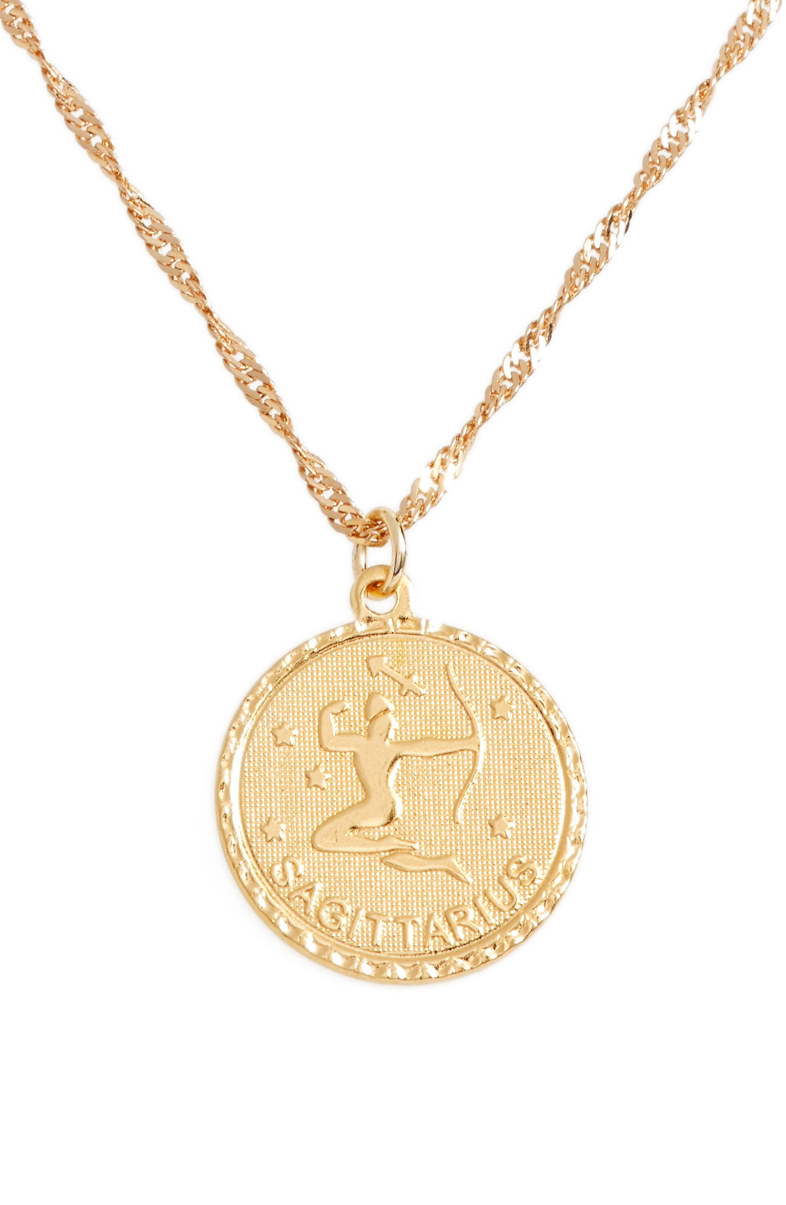 Ascending Sagittarius Pendant Necklace,                         Main,                         color, Yellow Gold