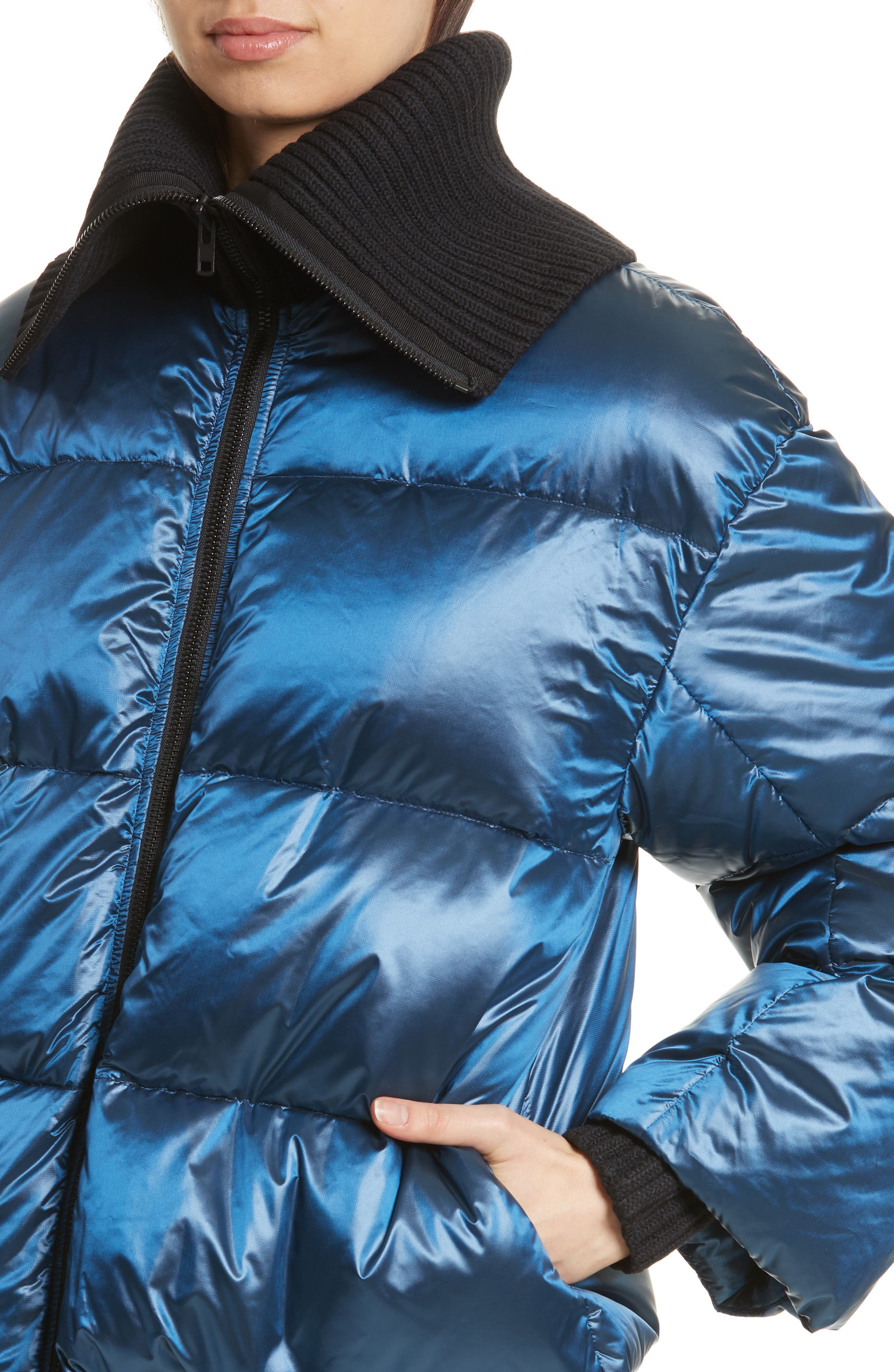 Quilted Down Bomber,                             Alternate thumbnail 4, color,                             Navy Blue