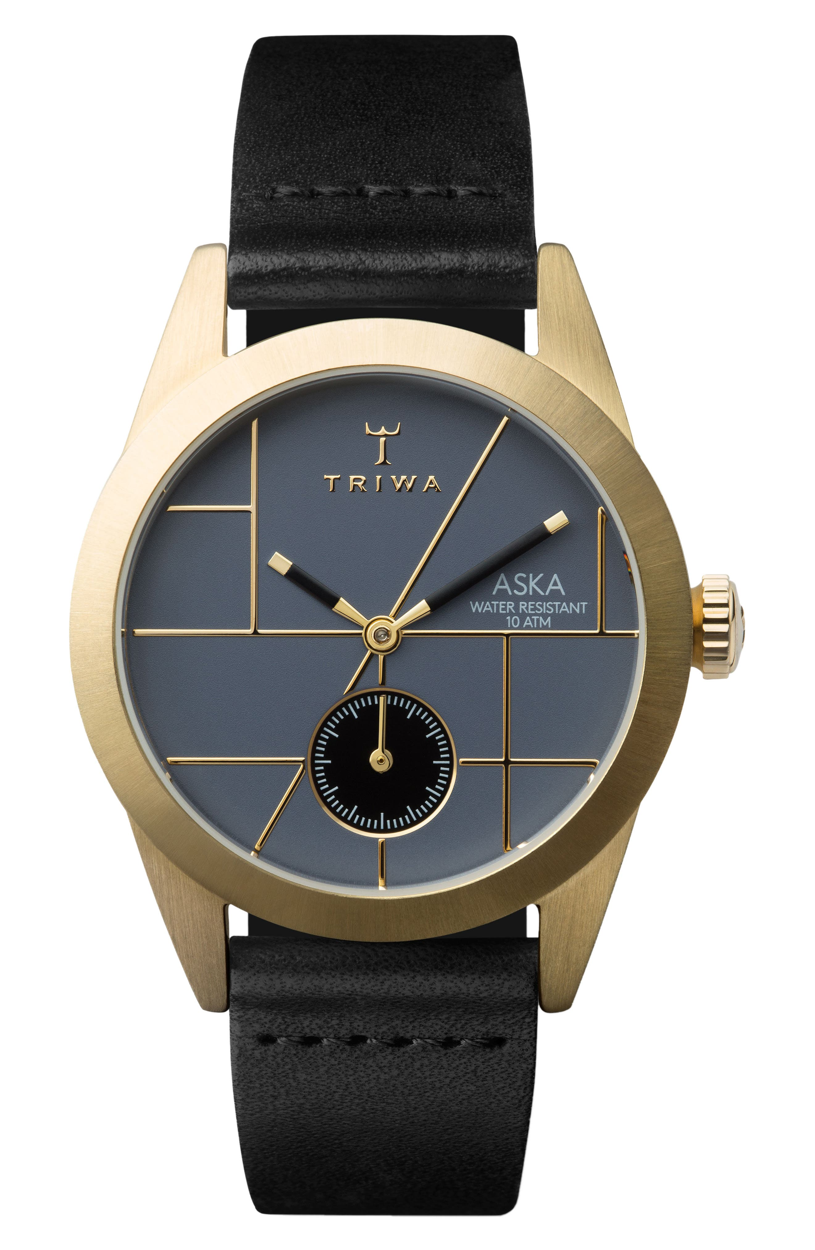 Blues Aska Leather Strap Watch, 32mm,                         Main,                         color, Black/ Blue/ Gold
