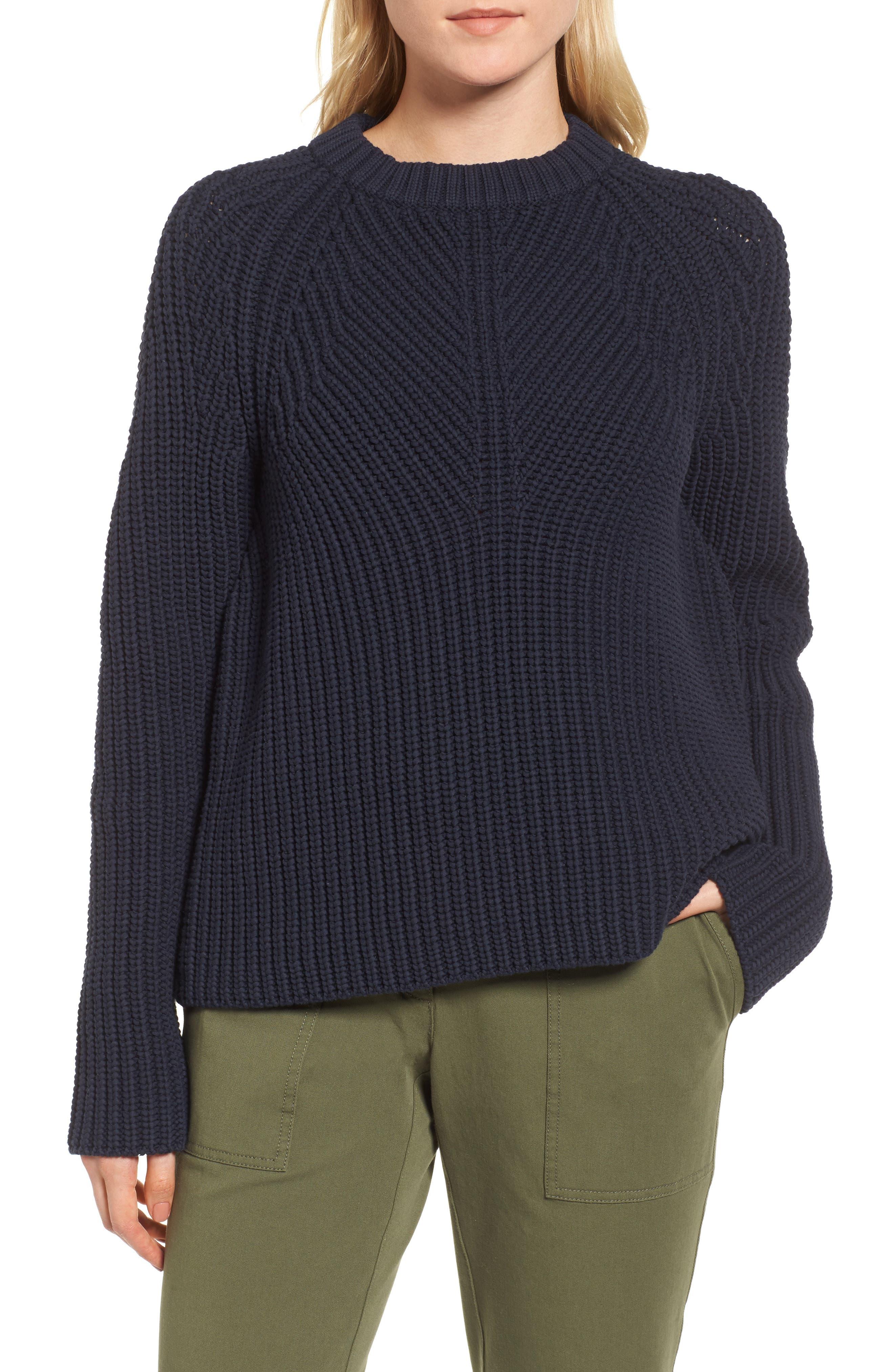 Raglan Sleeve Knit Sweater,                             Main thumbnail 1, color,                             Navy Night