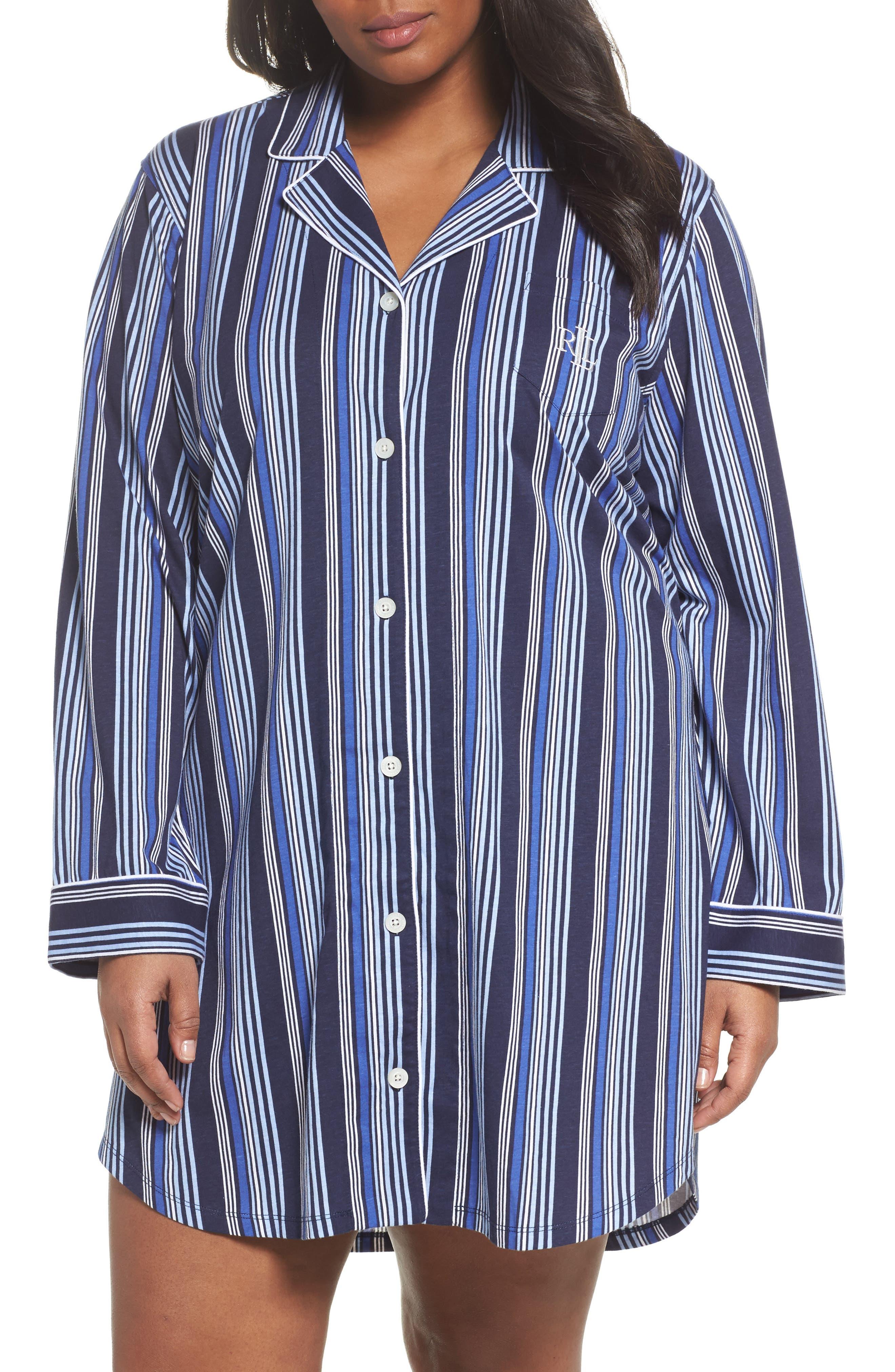 Lauren Ralph Lauren Stripe Night Shirt (Plus Size)
