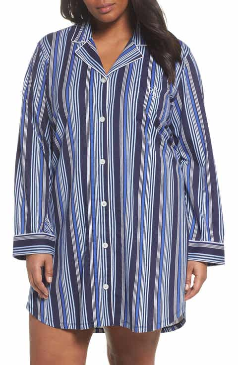 Lauren Ralph Lauren Stripe Night Shirt (Plus Size)