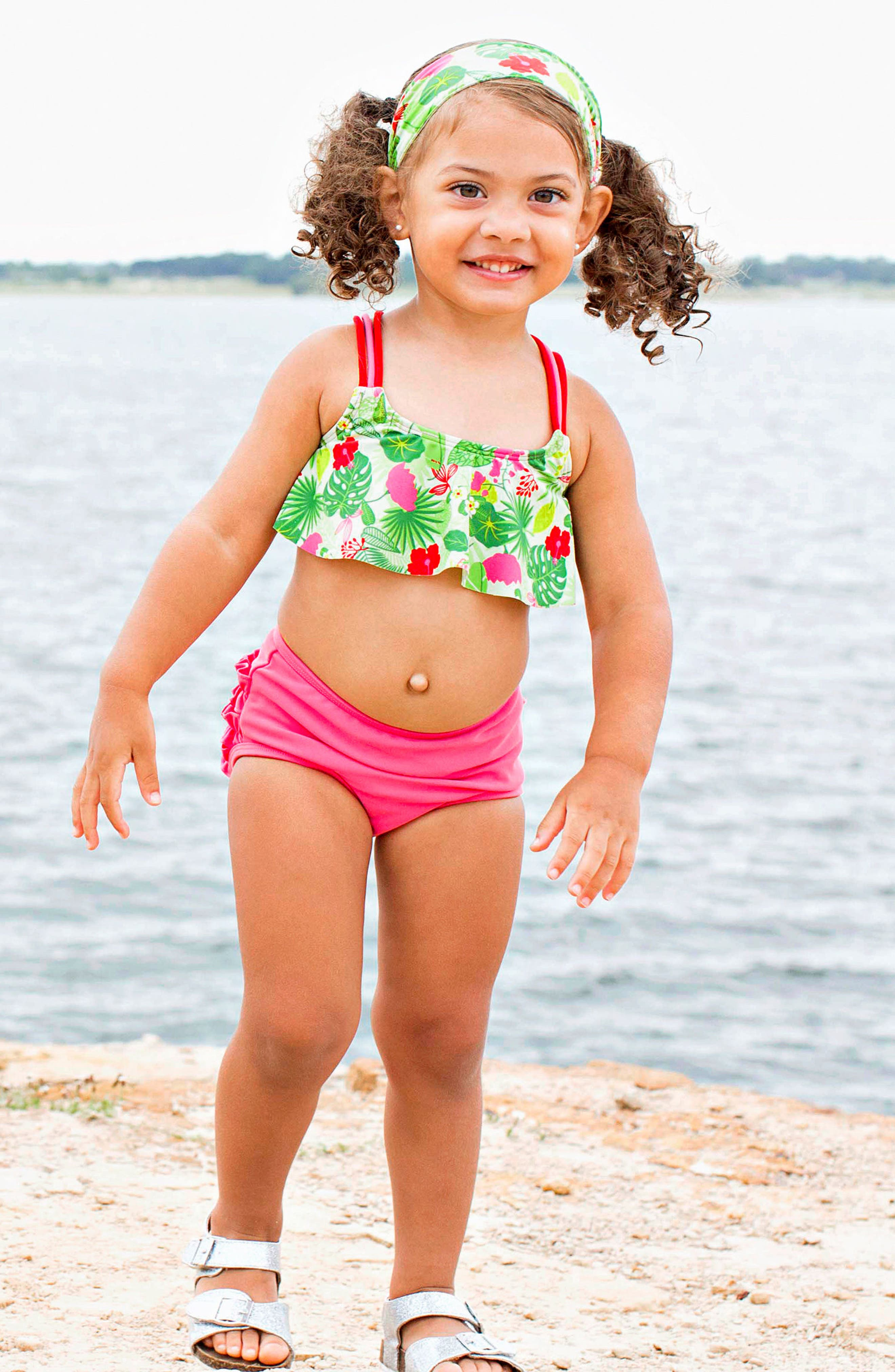 Tropical Two-Piece Swimsuit & Headband Set,                             Alternate thumbnail 3, color,                             Green