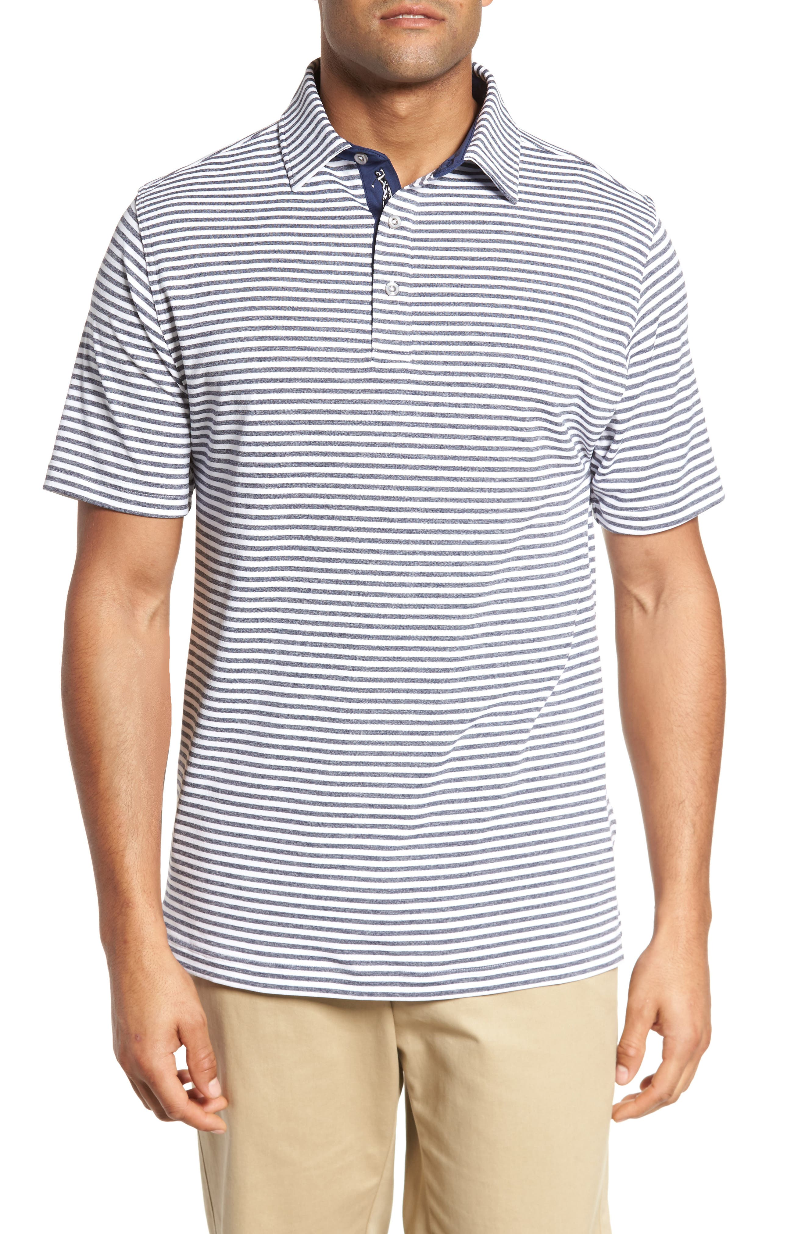 XH2O Tranquil Stripe Jersey Polo,                             Main thumbnail 1, color,                             White