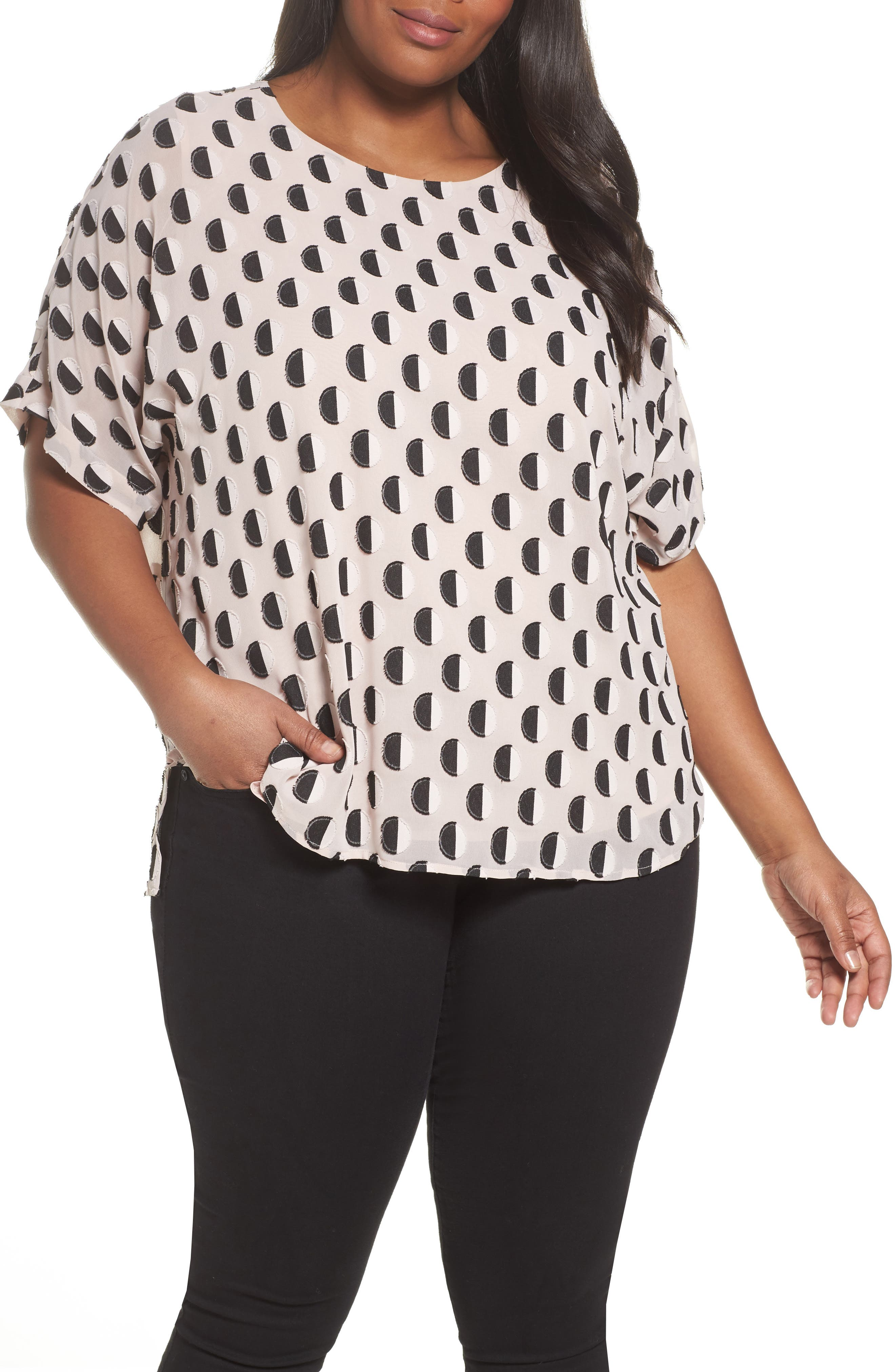 Graphic Clip Dot Top,                         Main,                         color, Rose Buff