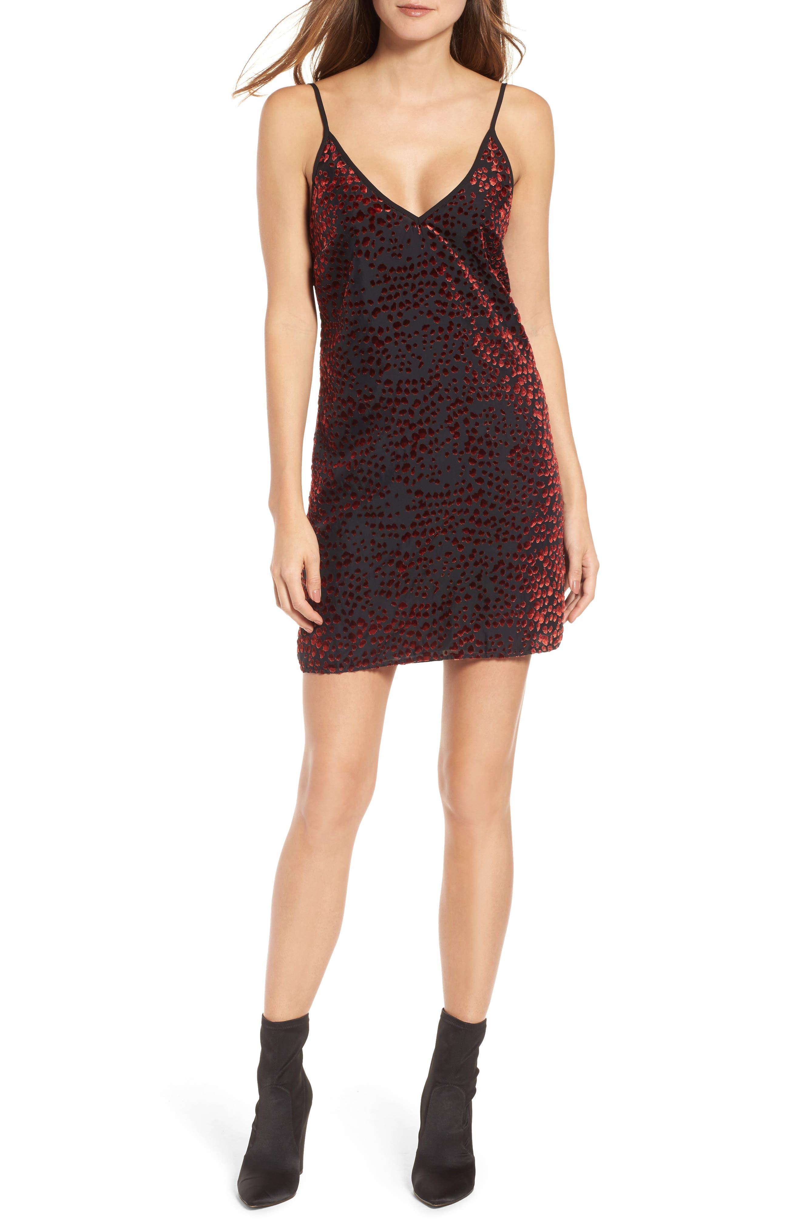 Lamont Cowl Back Minidress,                         Main,                         color, Red Leopard