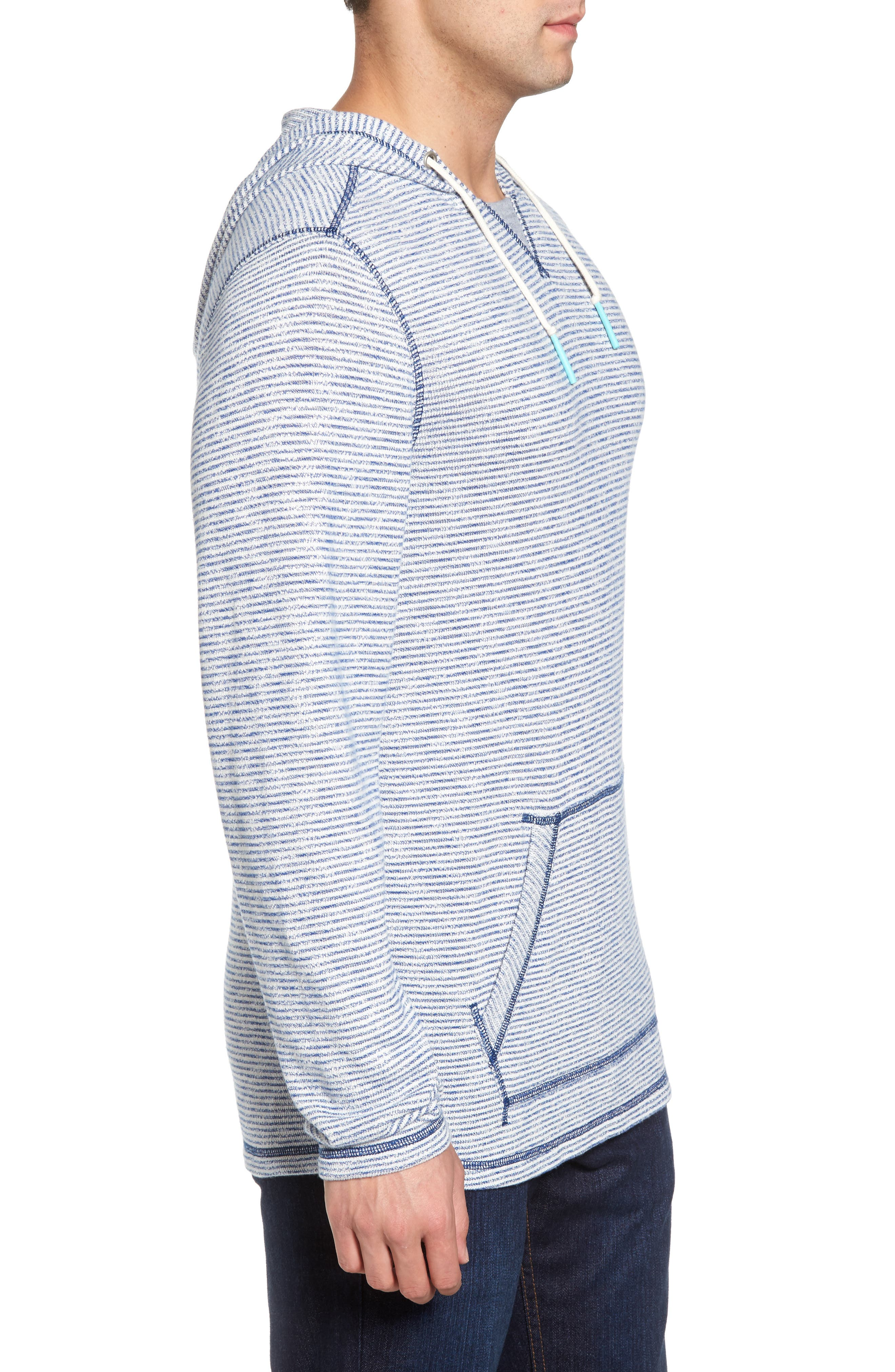 Bayfront Stripe Hooded Pullover,                             Alternate thumbnail 3, color,                             Galaxy Blue