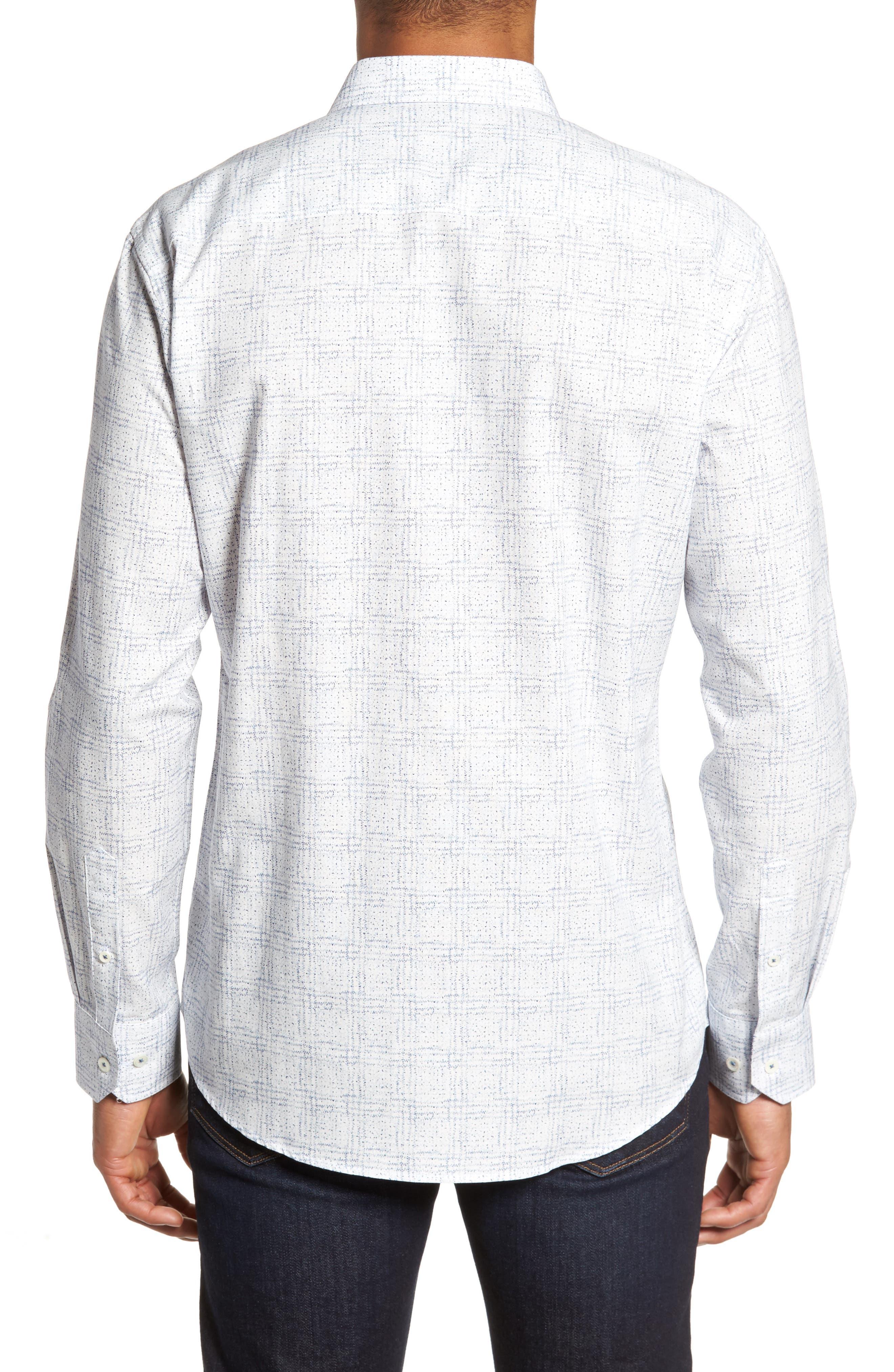 Shaped Fit Print Sport Shirt,                             Alternate thumbnail 2, color,                             Petrol