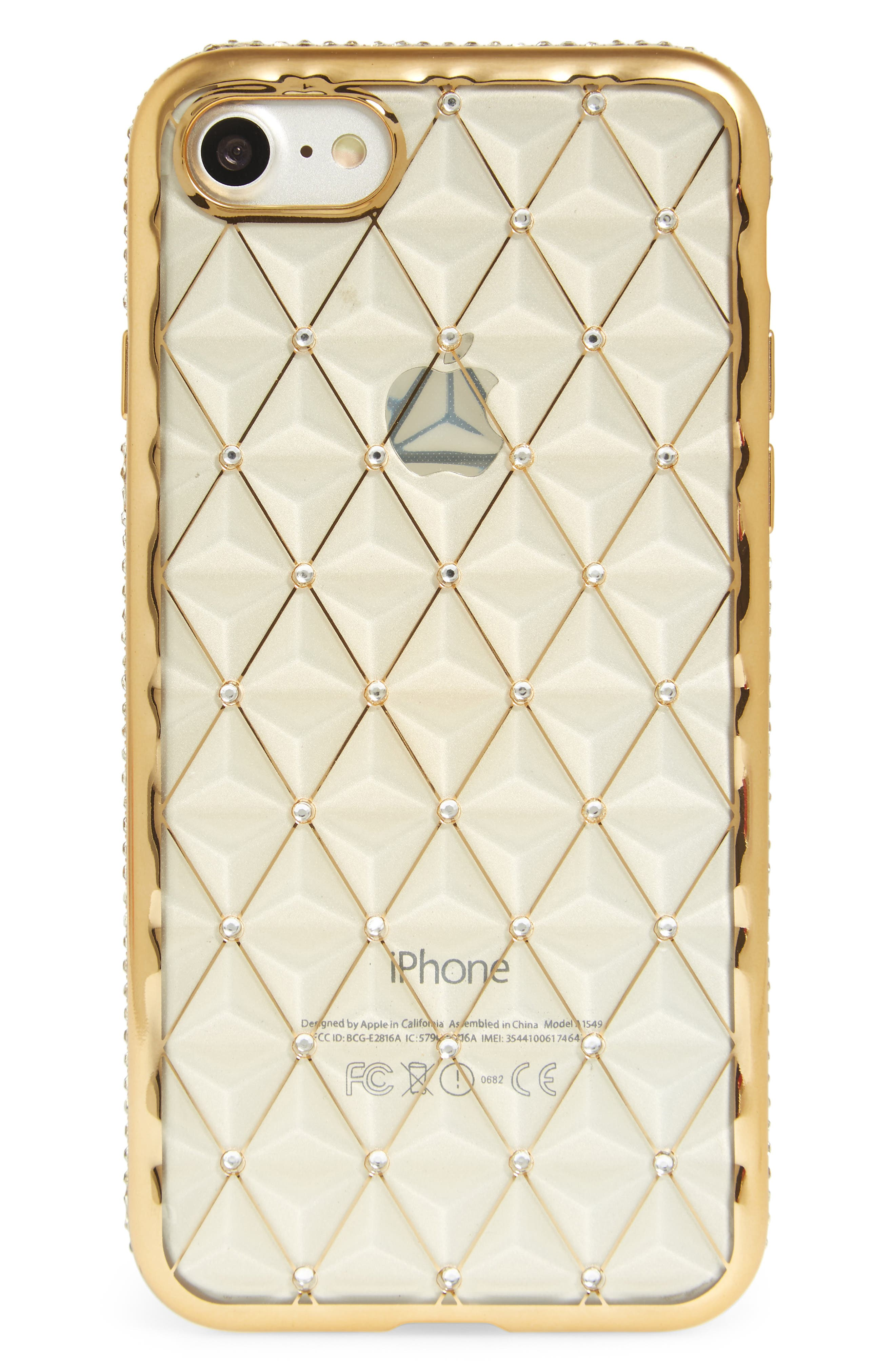 Crystal Embellished iPhone 7 Case,                         Main,                         color, Gold/ Clear