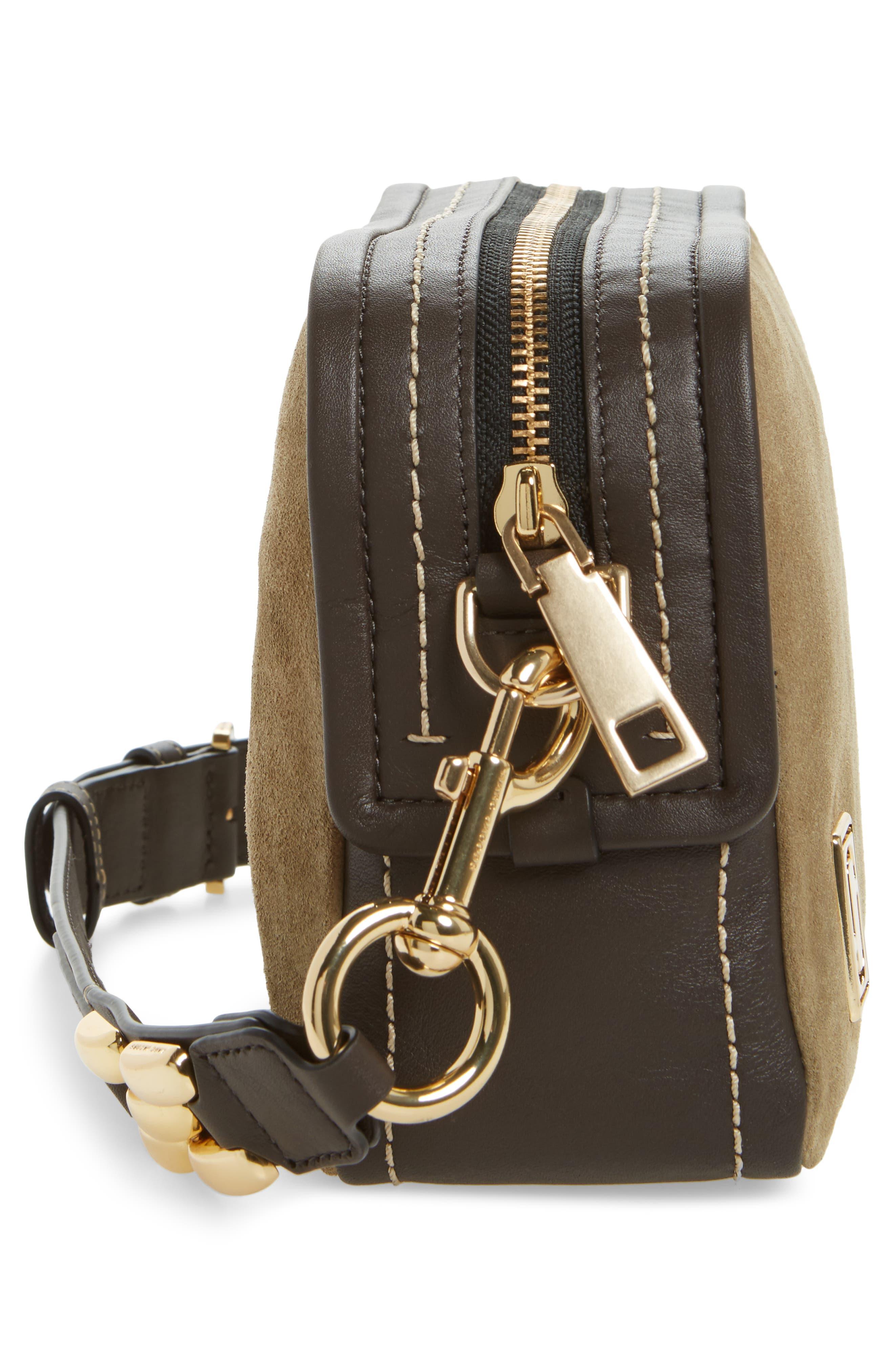 The Squeeze Suede & Leather Shoulder Bag,                             Alternate thumbnail 5, color,                             Pyrite