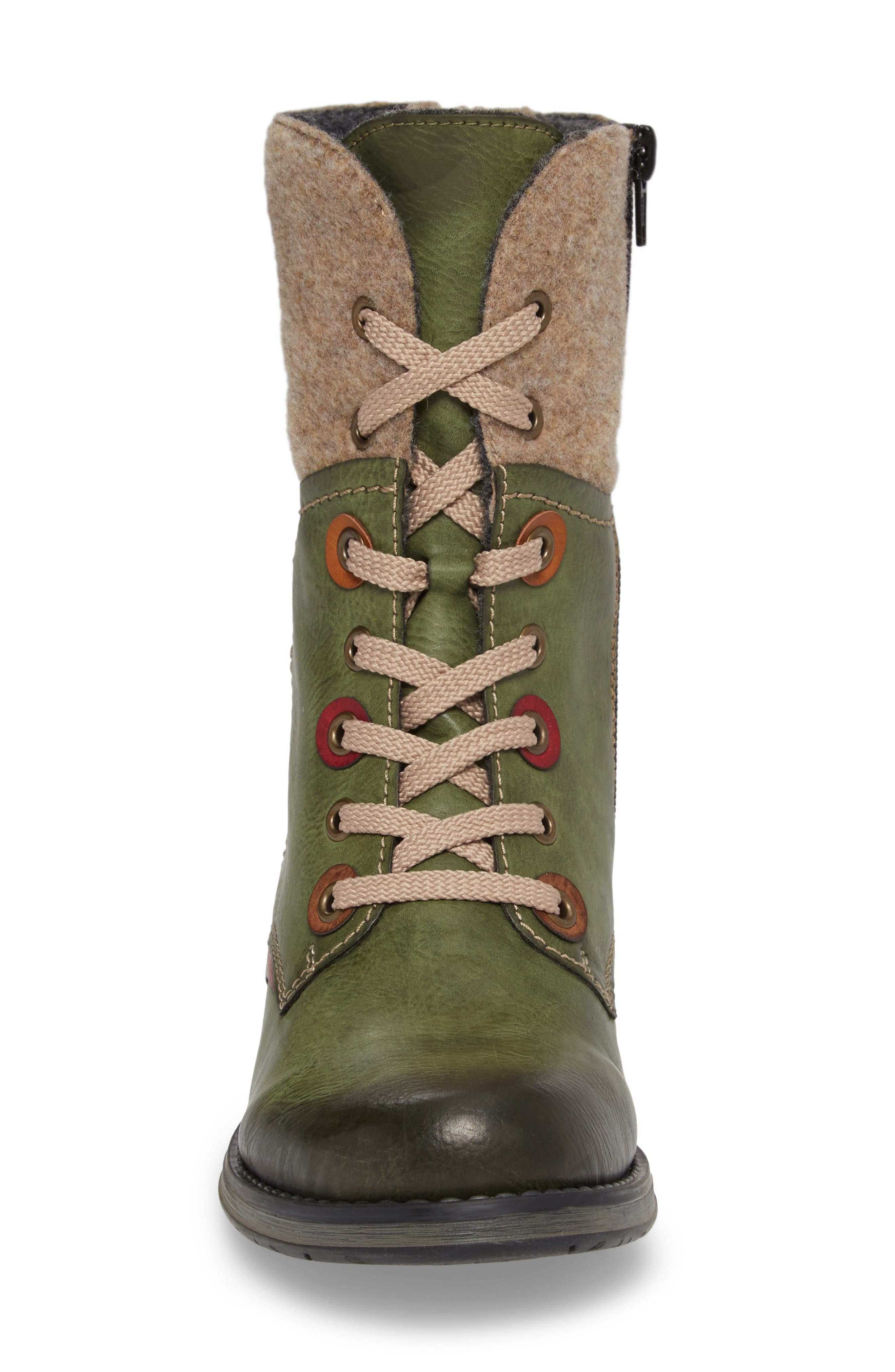 Fergie 43 Lace-Up Boot,                             Alternate thumbnail 4, color,                             Leaf Faux Leather