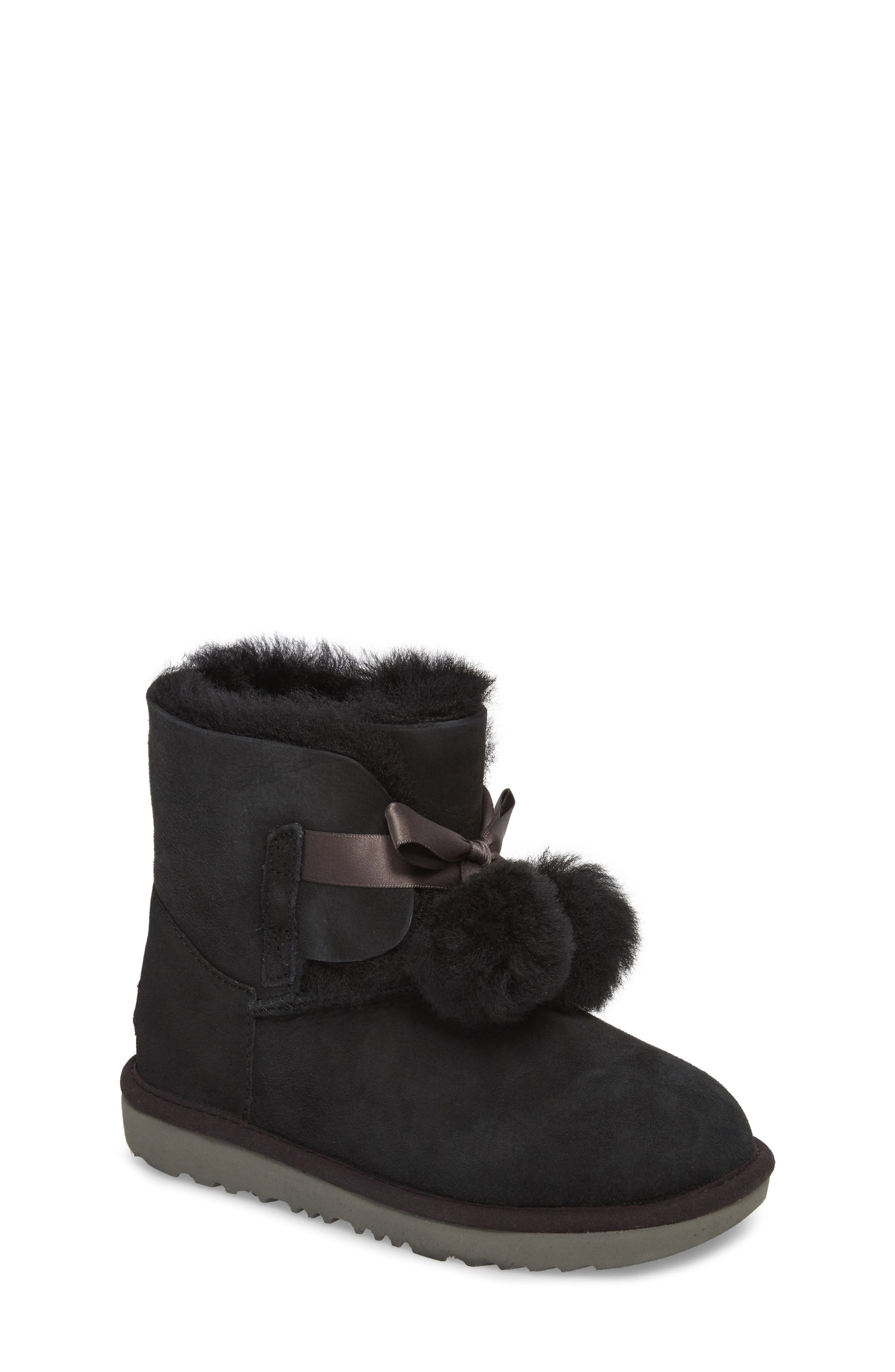 Gita Water-Resistant Genuine Shearling Pom Bootie,                             Main thumbnail 1, color,                             Black