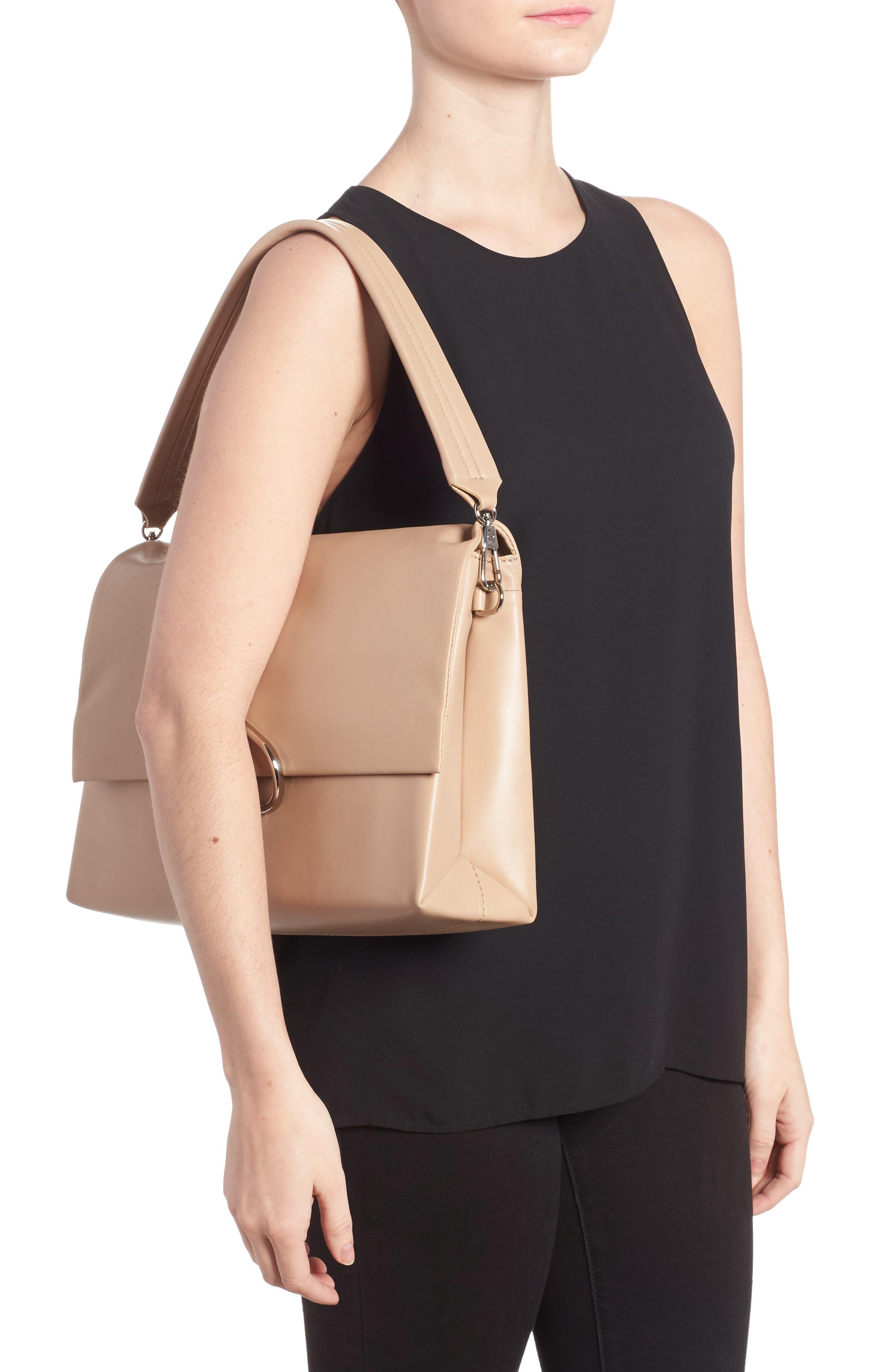 Oversized Alix Flap Leather Shoulder Bag,                             Alternate thumbnail 2, color,                             Fawn