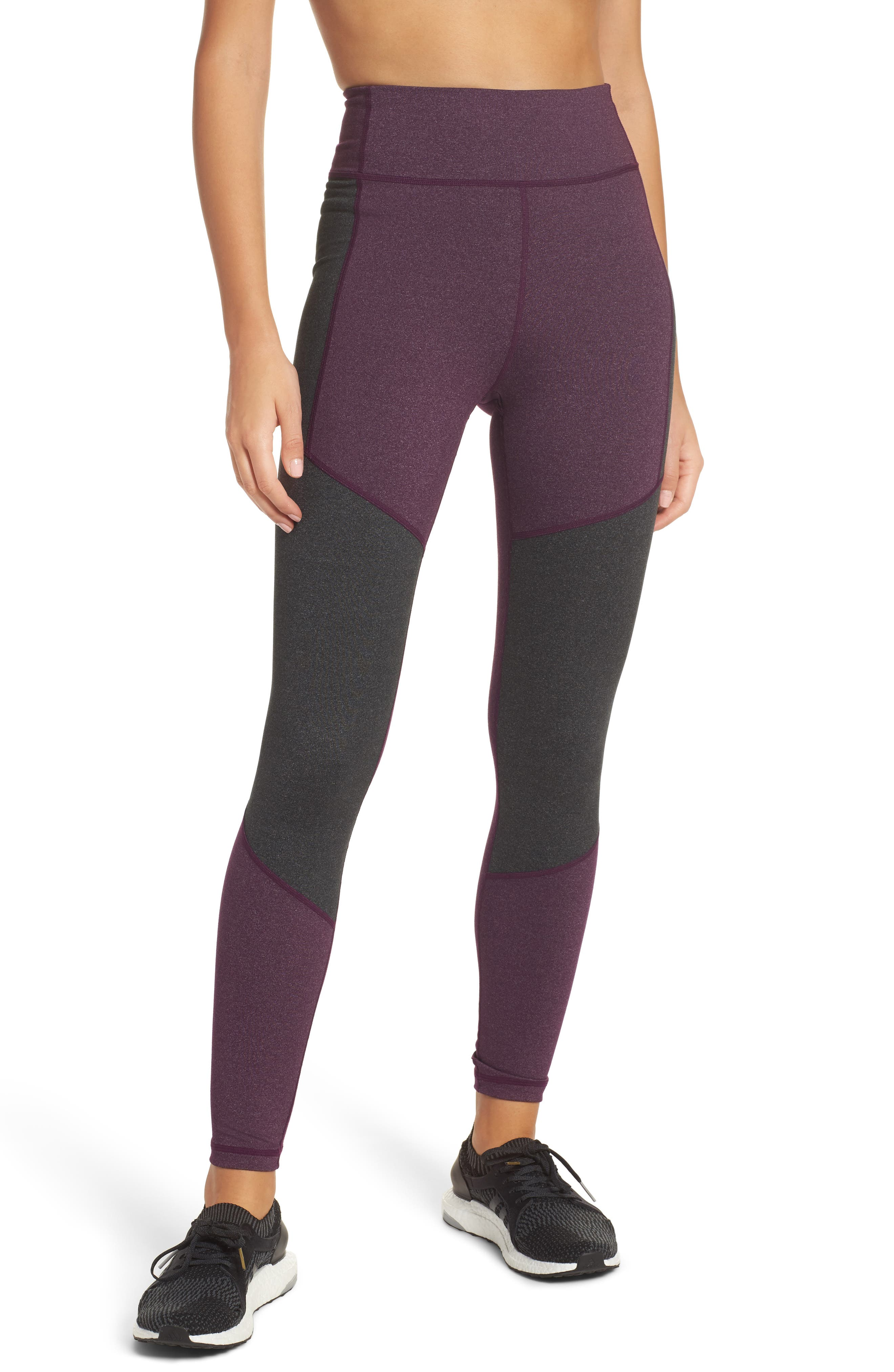 Performer Climalite<sup>®</sup> High Waist Leggings,                         Main,                         color, Red Night/ Energy Ink