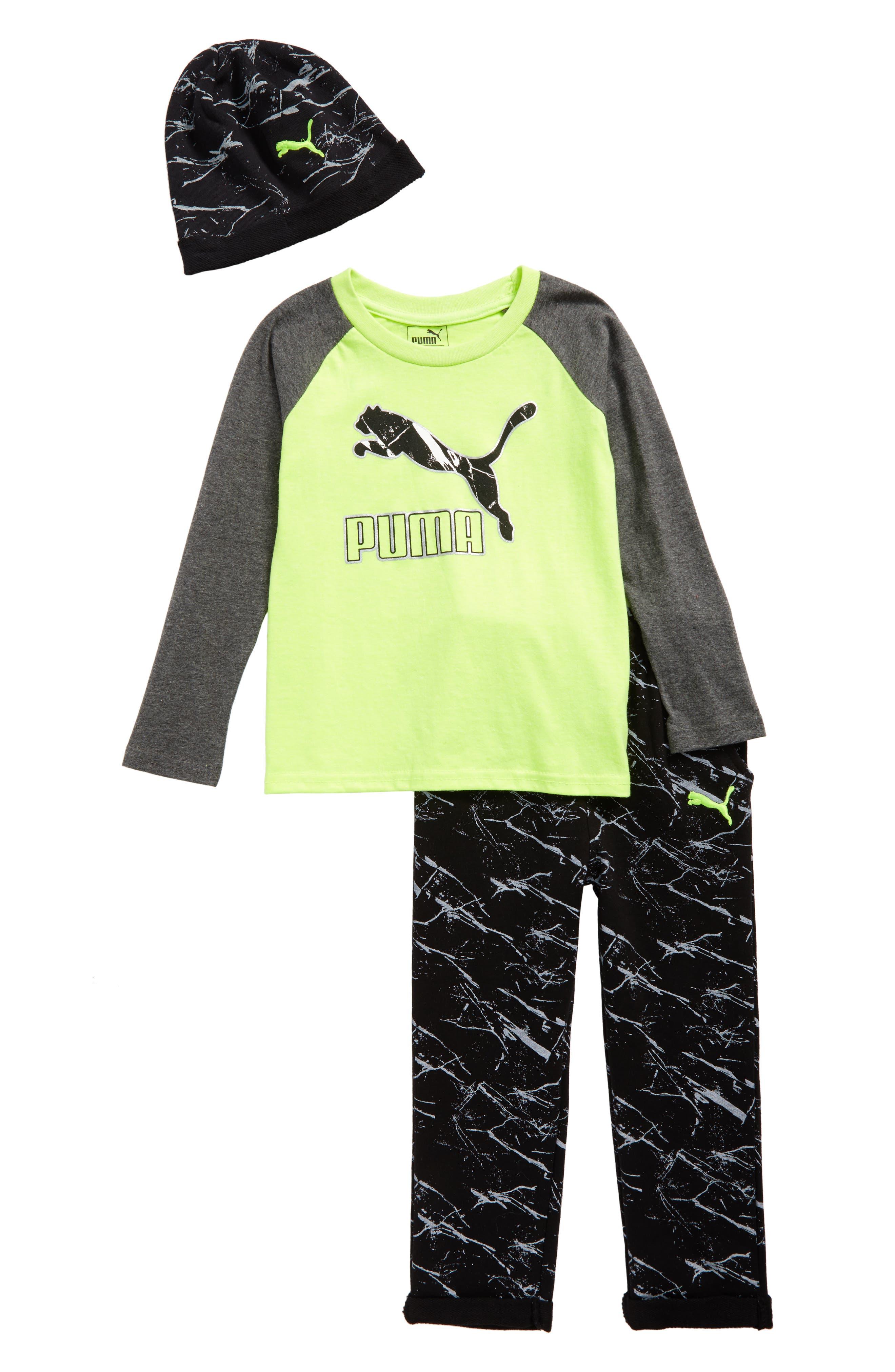 Hat, T-Shirt & Sweatpants Set,                         Main,                         color, Acid Yellow