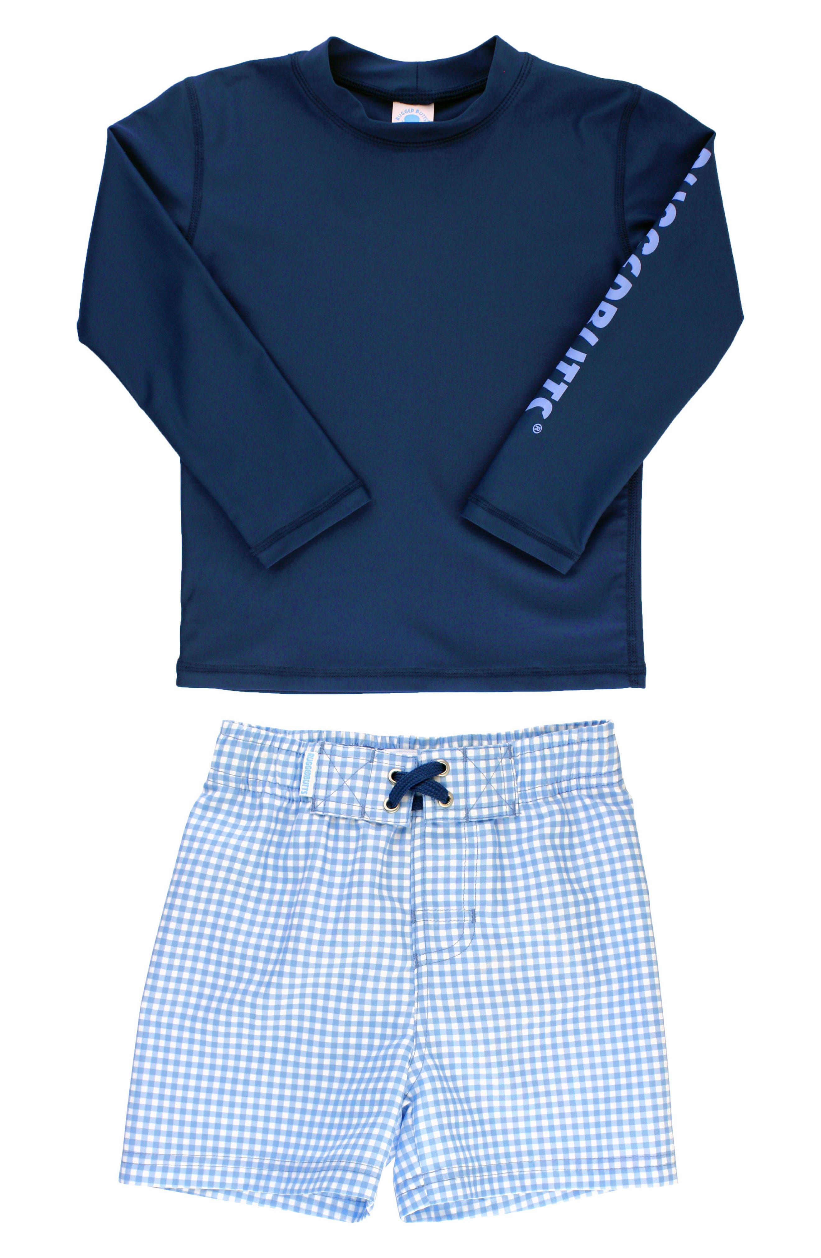Main Image - RuggedButts Long Sleeve Rashguard & Gingham Board Shorts Set (Toddler Boys & Little Boys)