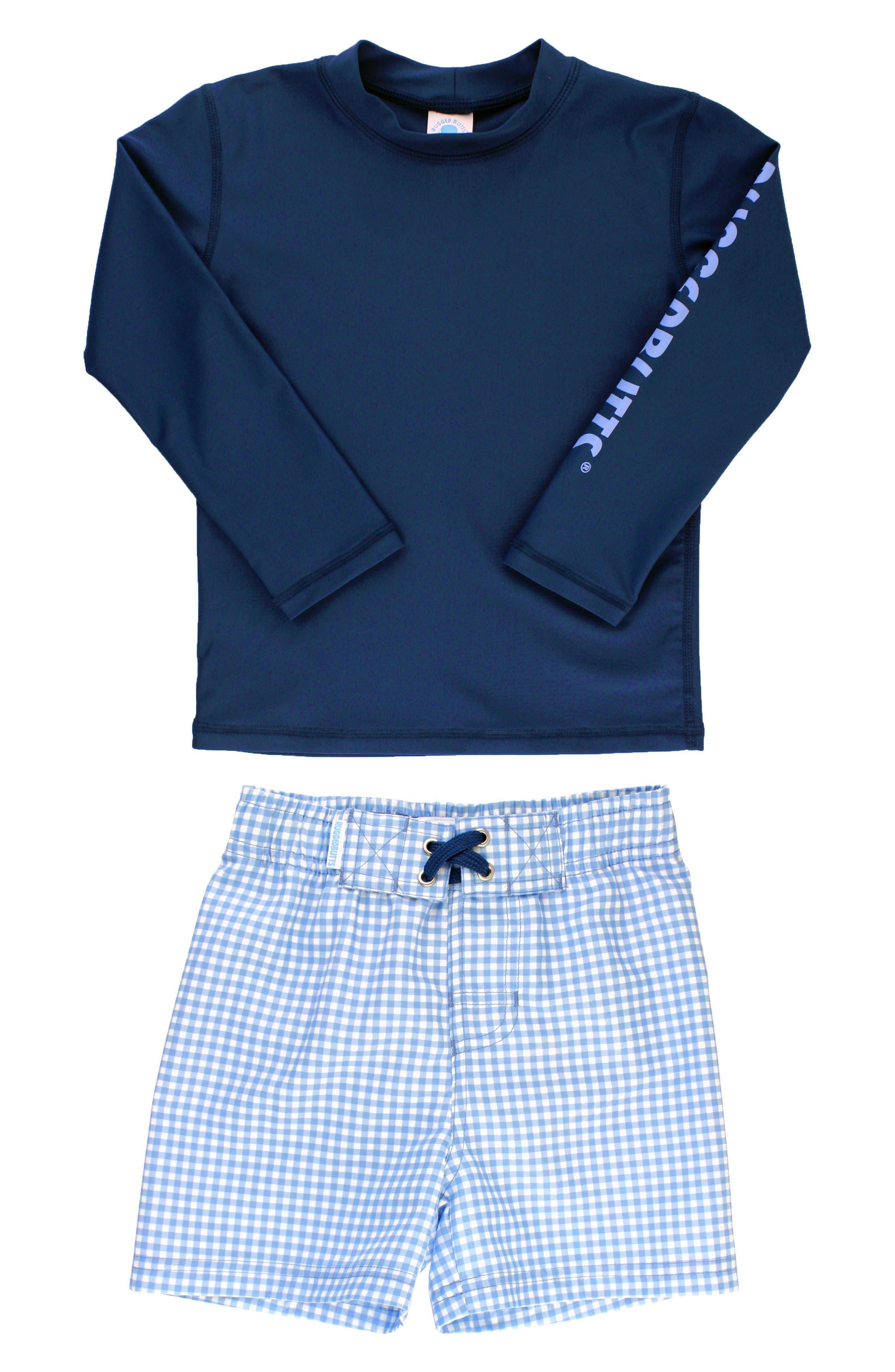 Long Sleeve Rashguard & Gingham Board Shorts Set,                         Main,                         color, Navy