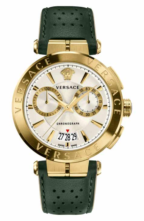 79ce39e319410 Versace Aion Chronograph Leather Strap Watch