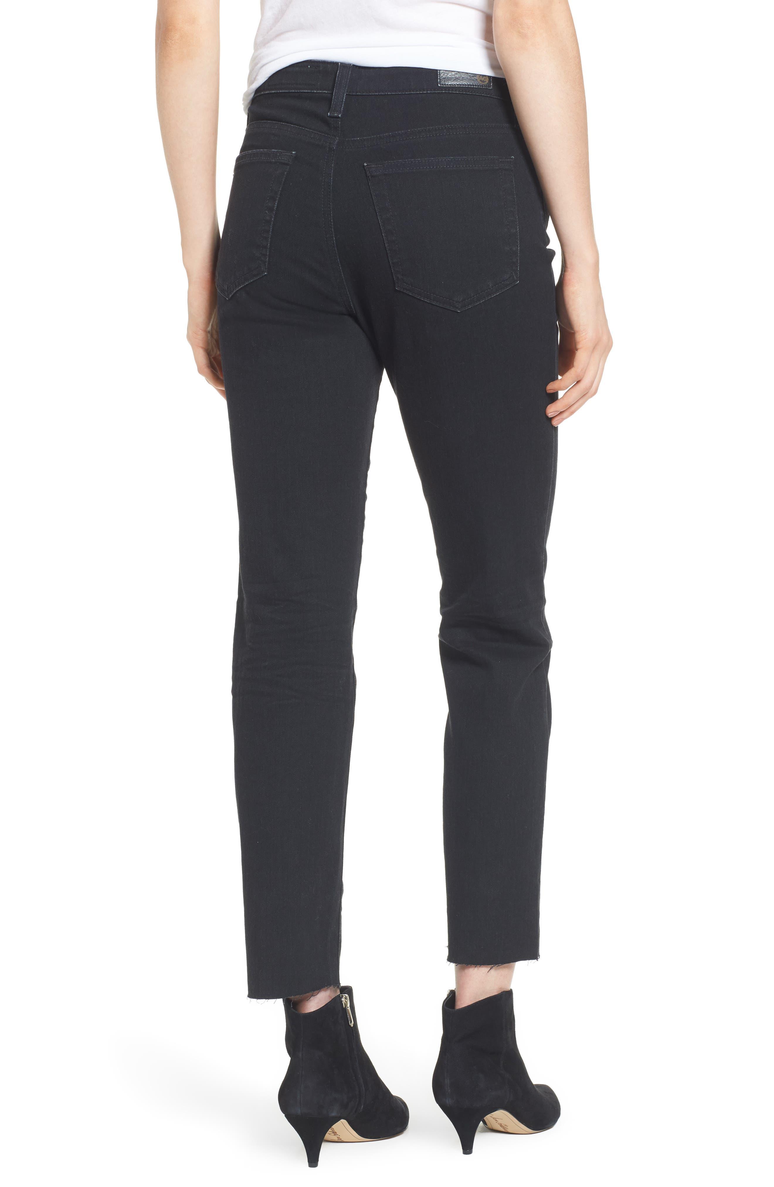 The Isabelle High Waist Crop Straight Leg Jeans,                             Alternate thumbnail 2, color,                             1 Year Black Hawk