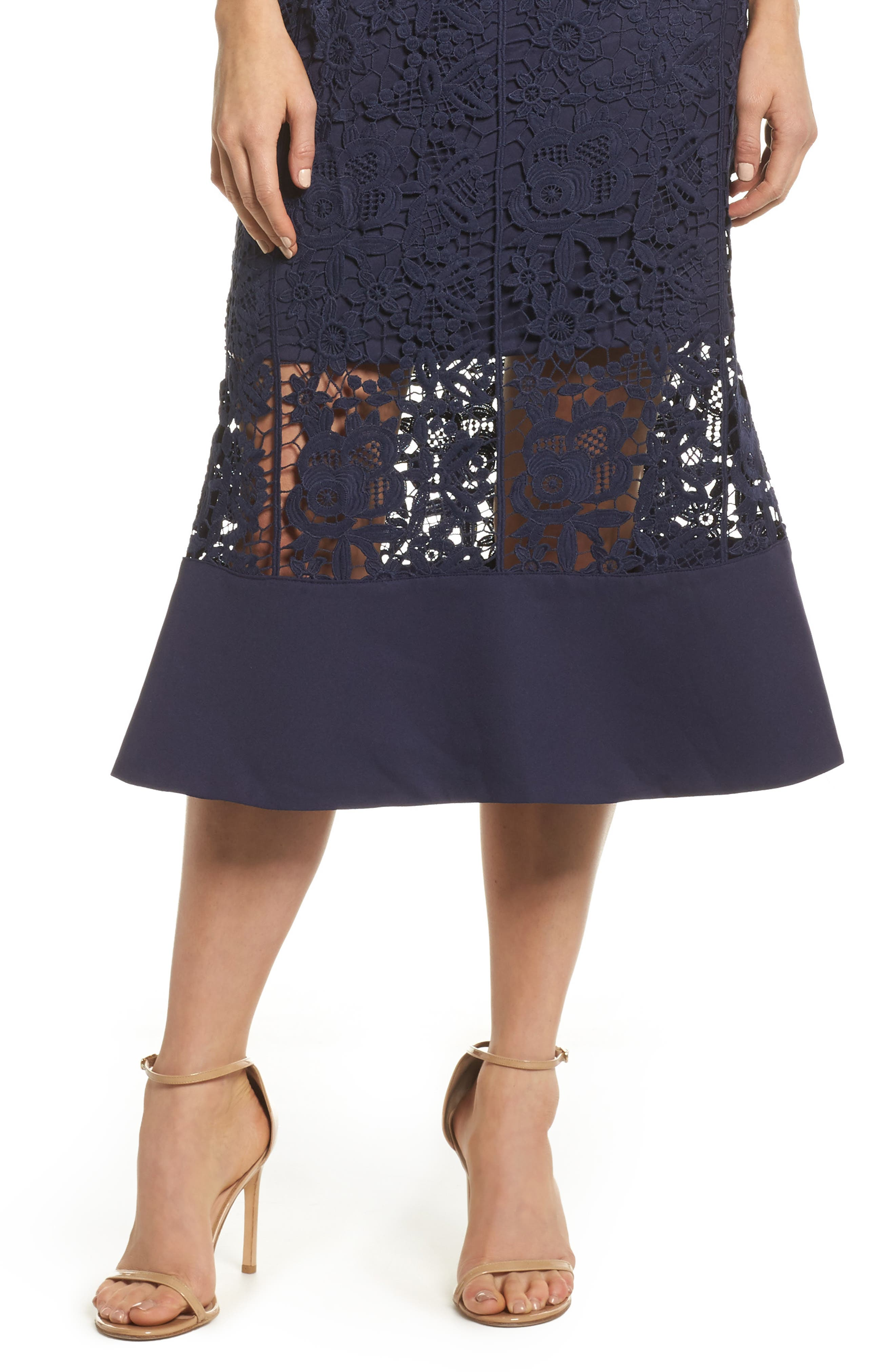 Xenia Strapless Lace Midi Dress,                             Alternate thumbnail 4, color,                             Navy