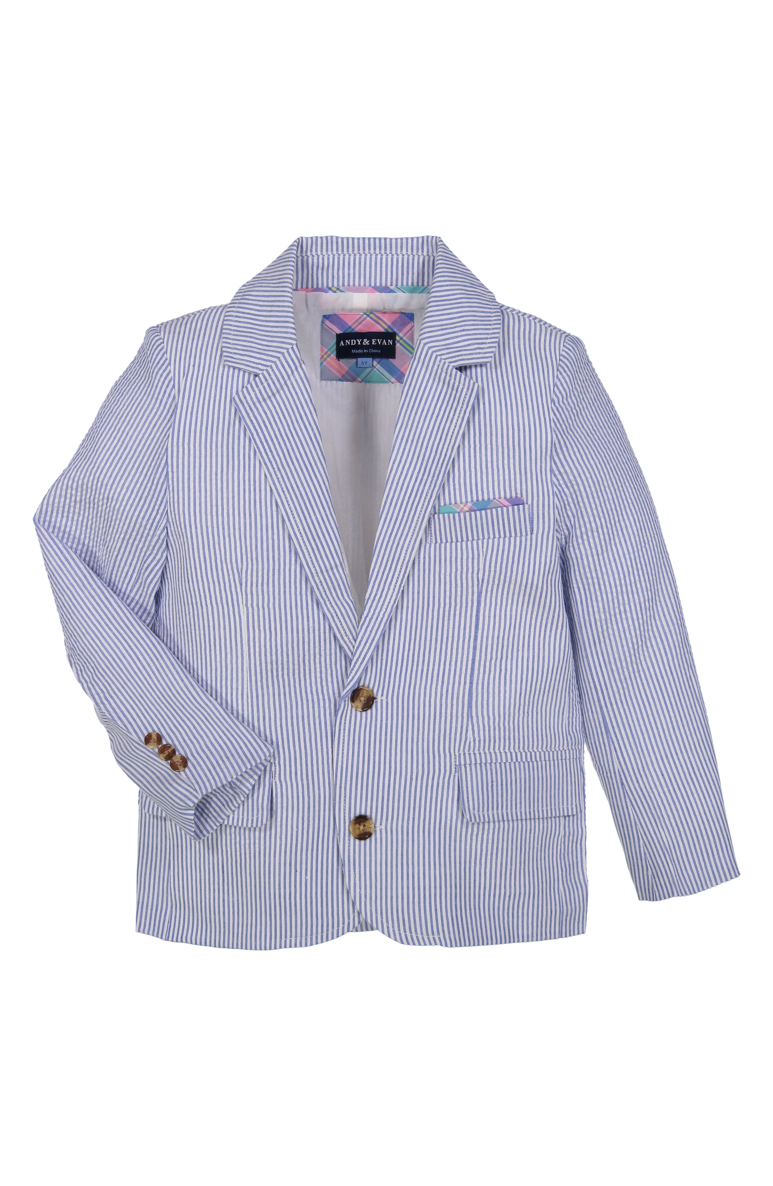 Seersucker Suit Set,                             Alternate thumbnail 2, color,                             Light Blue