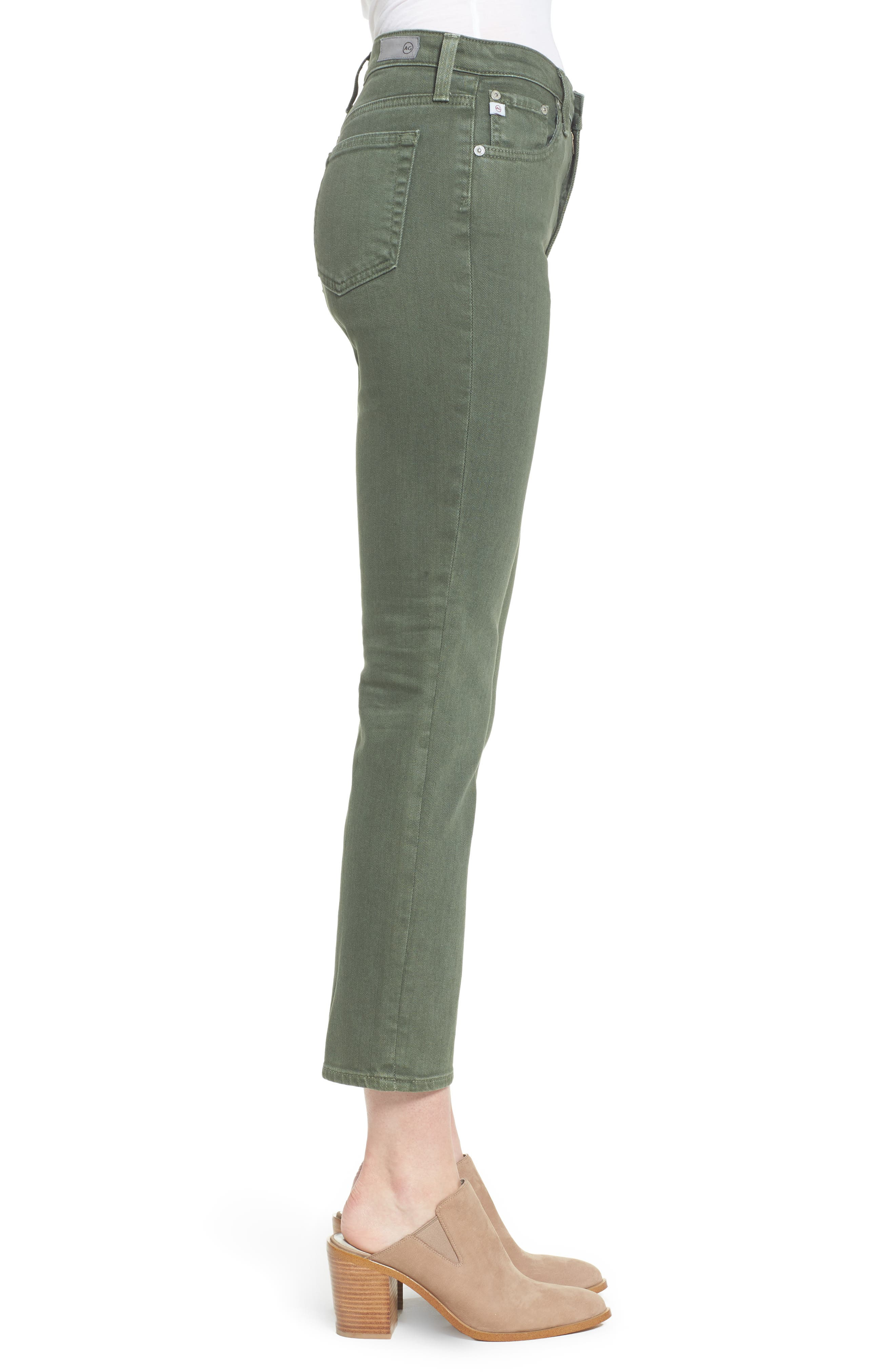 The Isabelle High Waist Crop Straight Leg Jeans,                             Alternate thumbnail 3, color,                             1 Year Sulfur Desert Pine