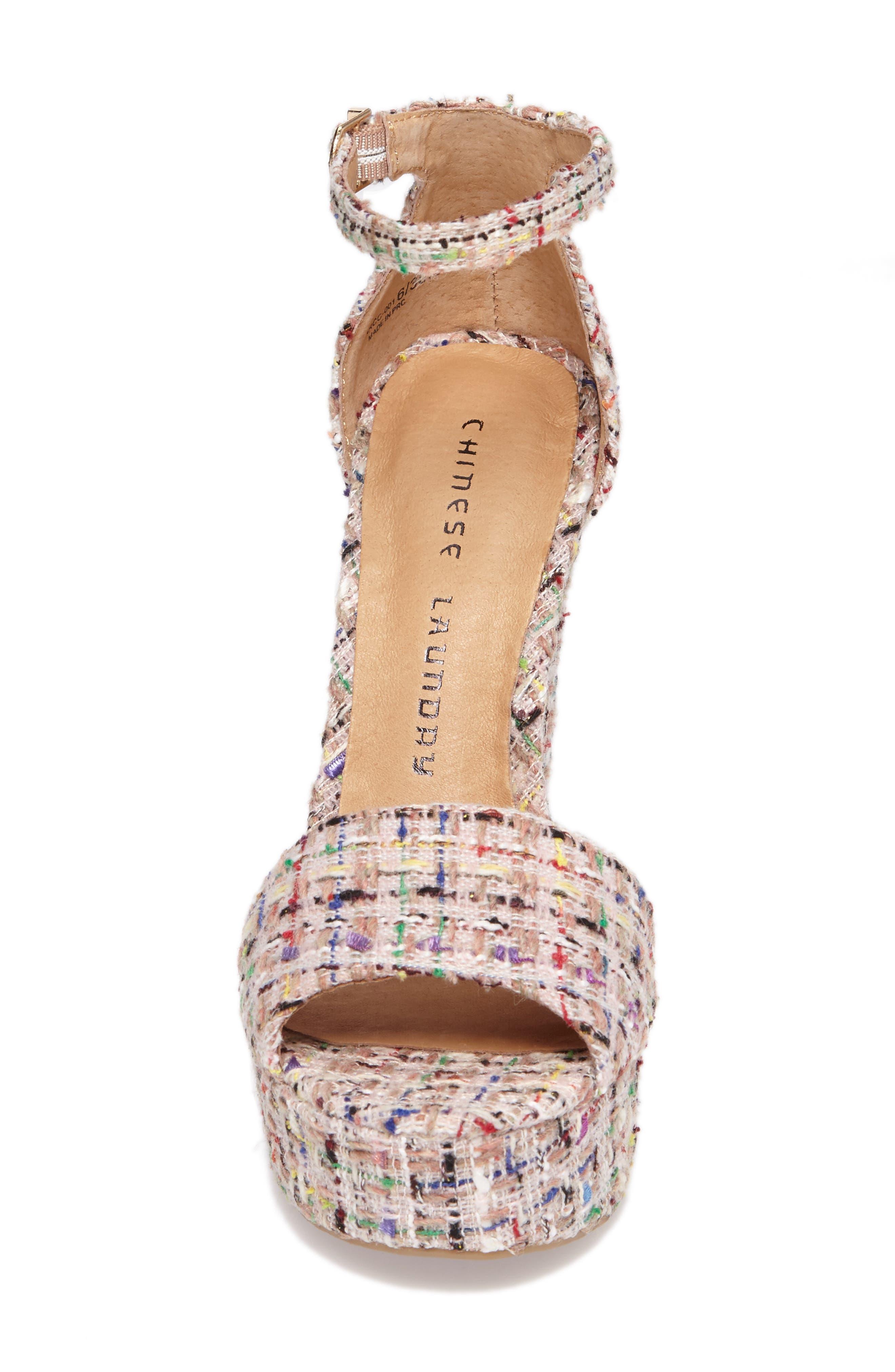 'Avenue' Sandal,                             Alternate thumbnail 4, color,                             Pink Tweed
