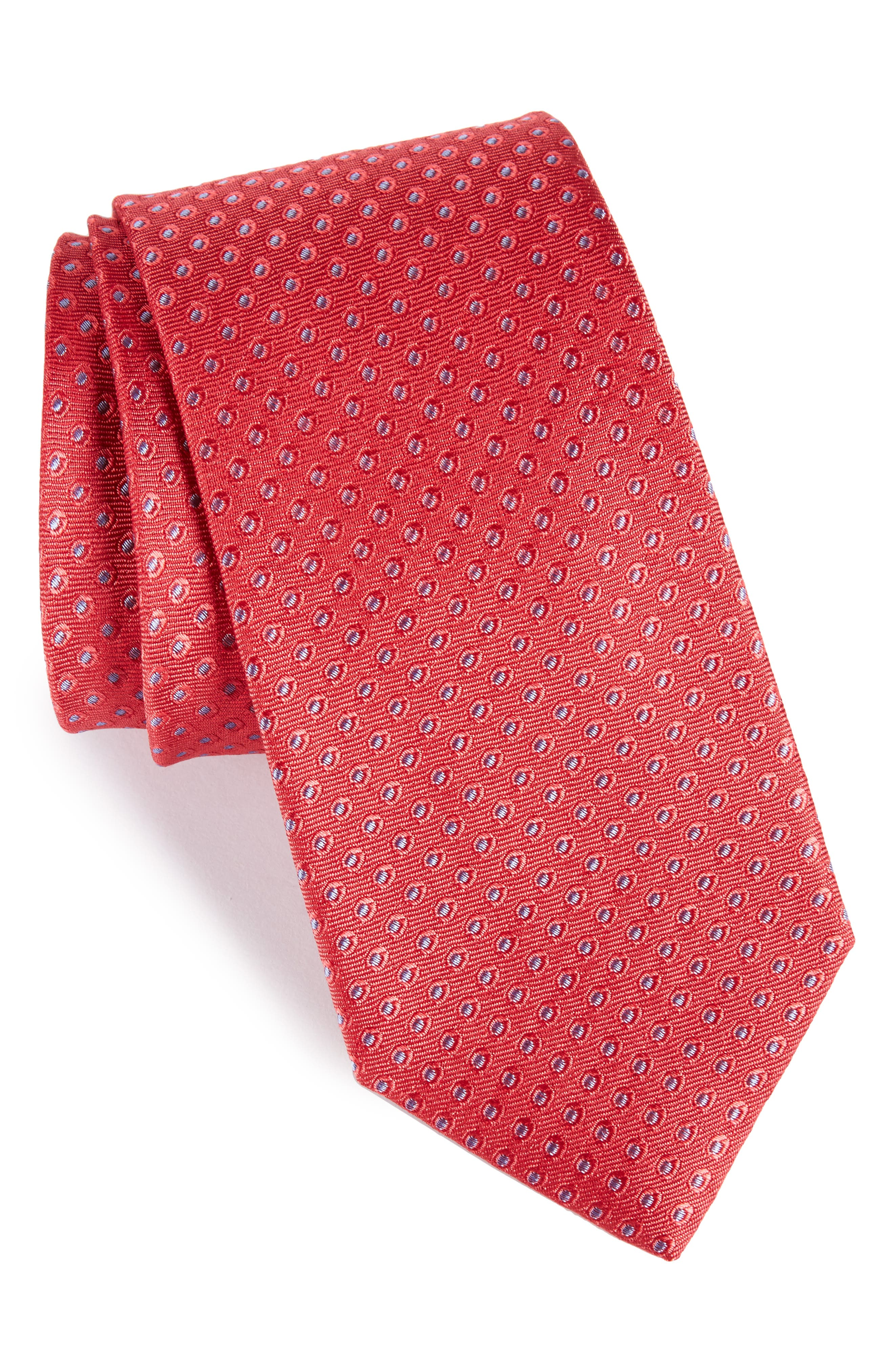 Oxford Dot Silk Tie,                         Main,                         color, Red