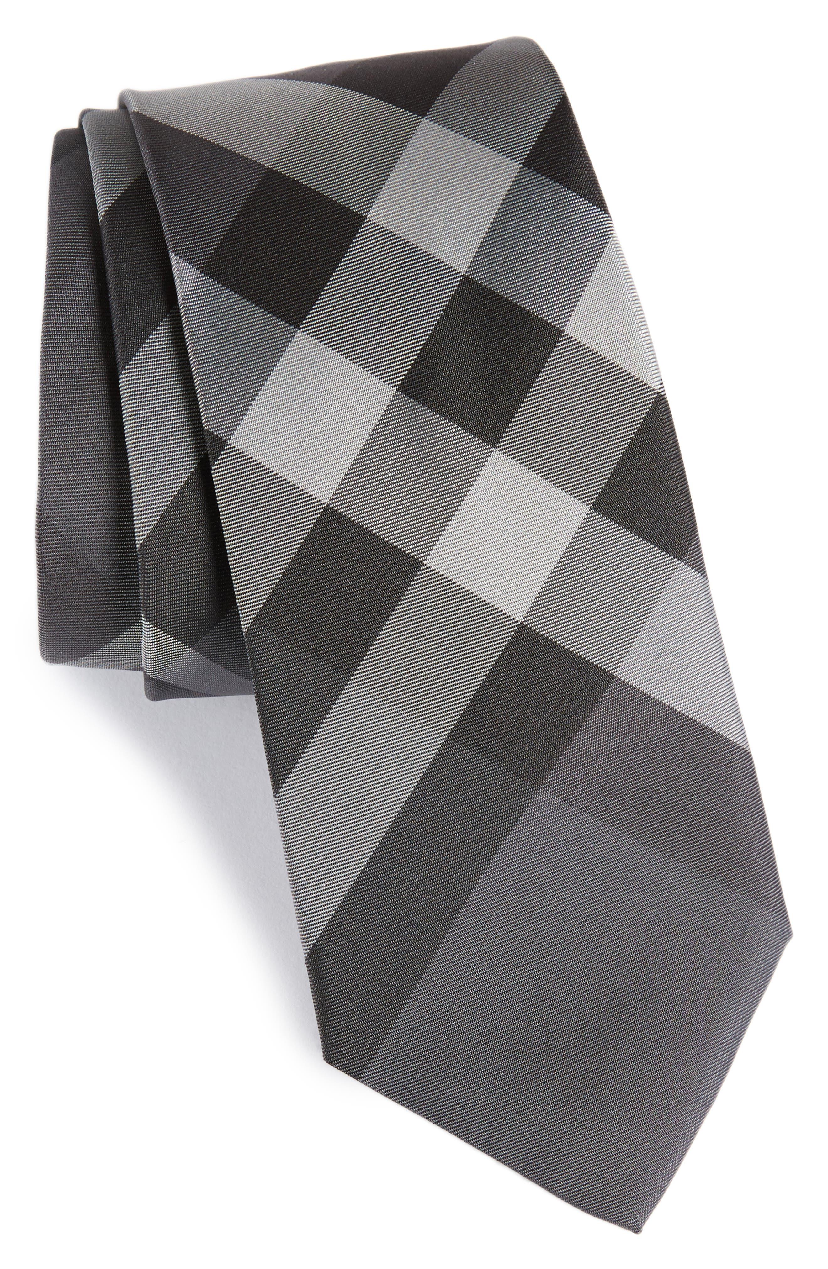 Manston Check Silk Tie,                         Main,                         color, Charcoal Check