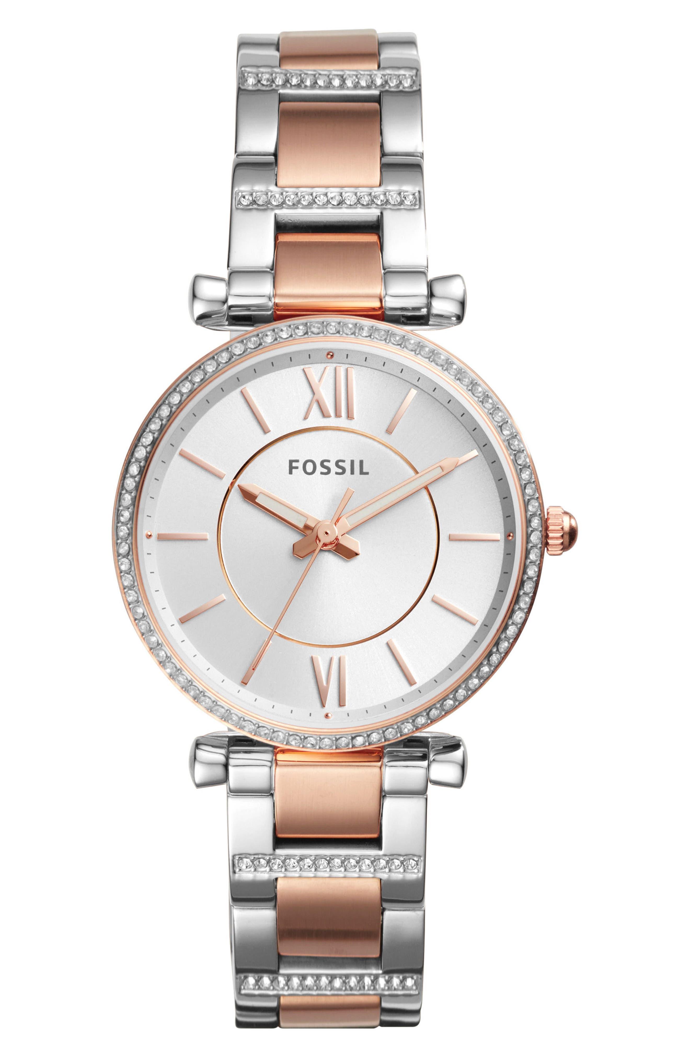 Main Image - Fossil Carlie T-Bar Crystal Bracelet Watch, 35mm