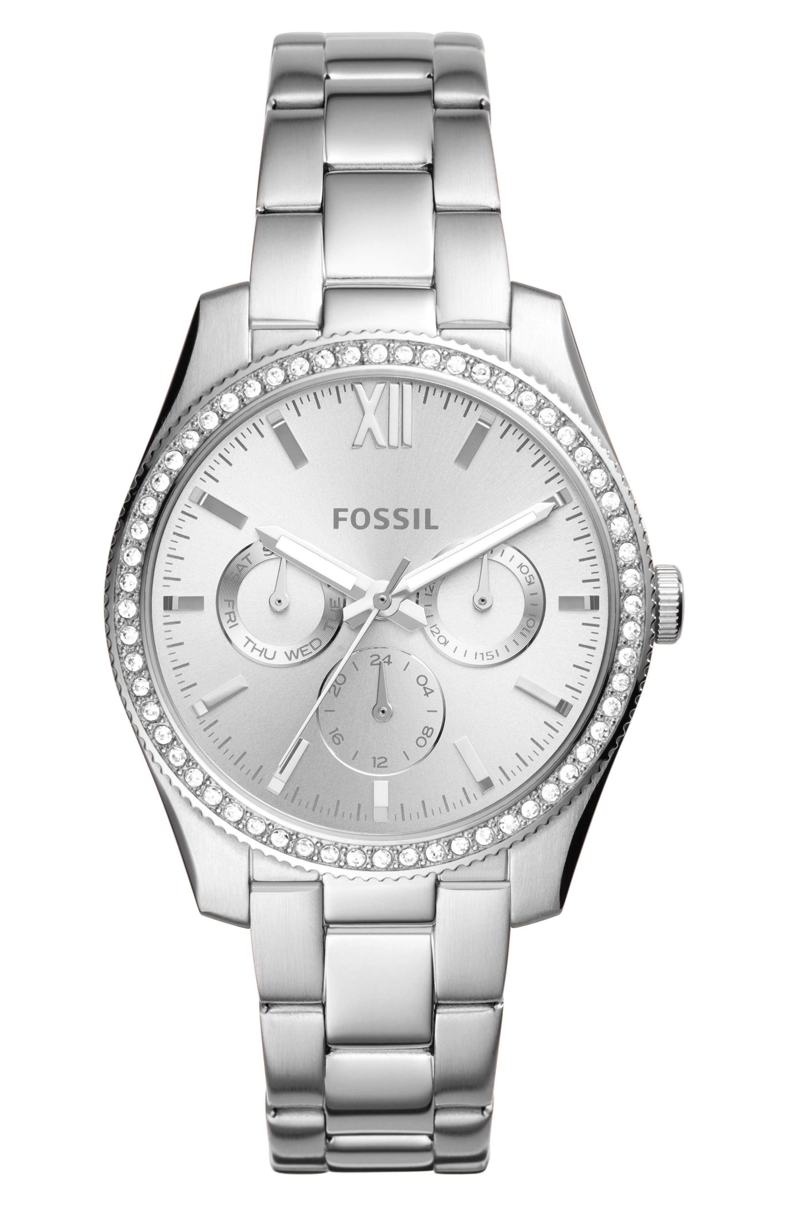 Fossil Scarlette Multifunction Crystal Bracelet Watch, 38mm