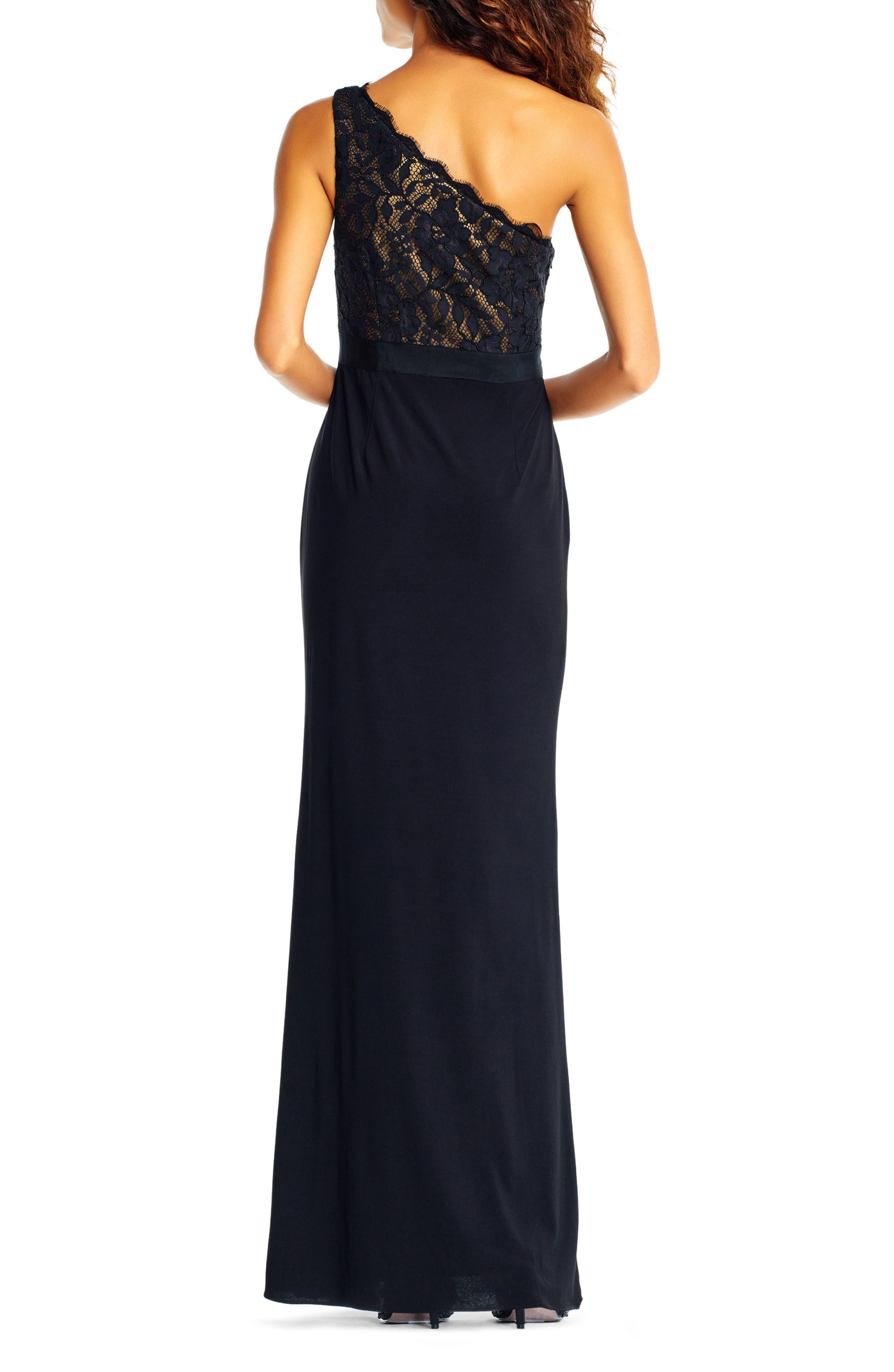 Lace One-Shoulder Gown,                             Alternate thumbnail 2, color,                             Black/Copper