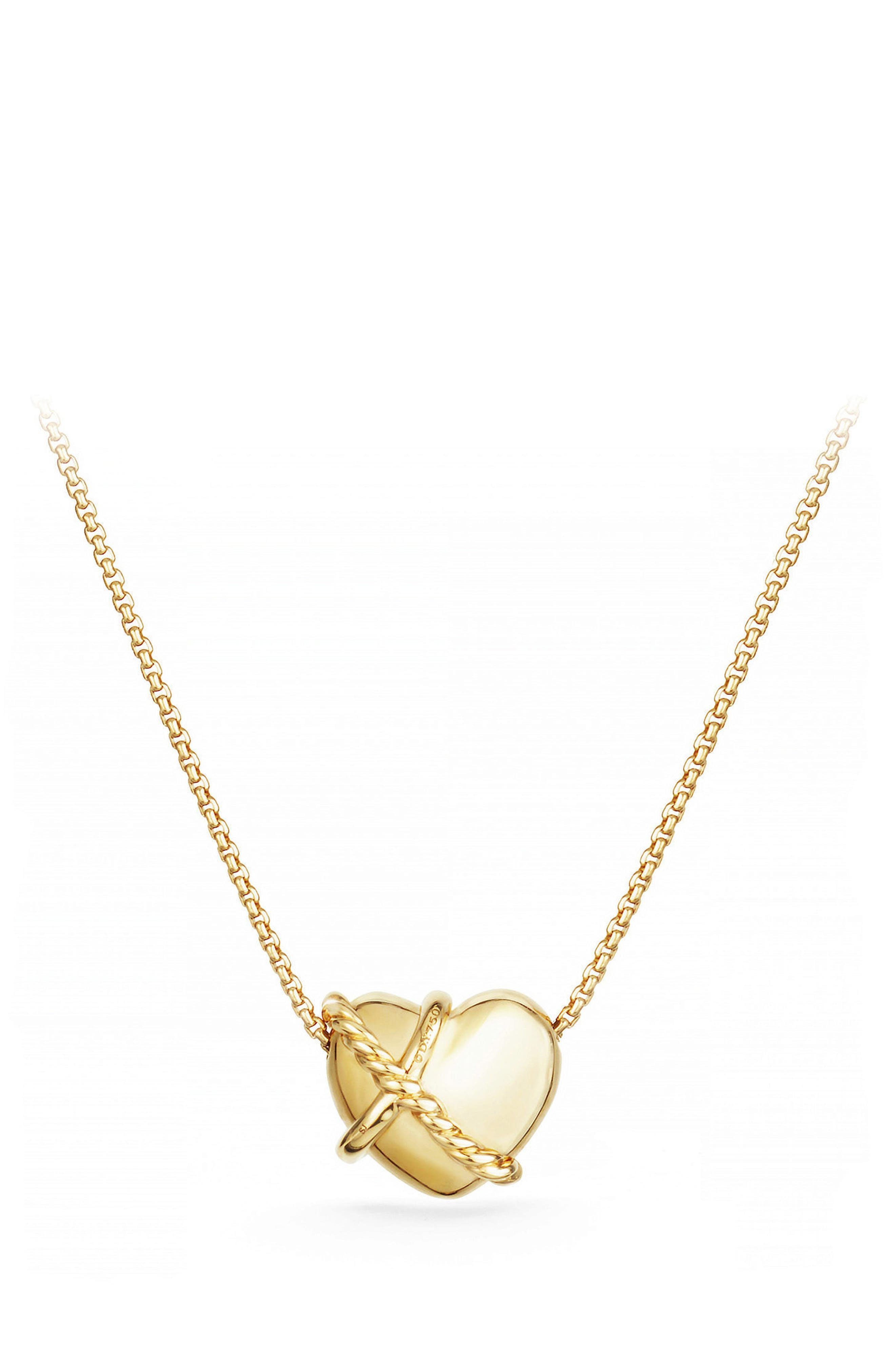 Heart Pendant Necklace in 18K Gold with Diamonds,                             Alternate thumbnail 3, color,                             Yellow Gold/ Diamond