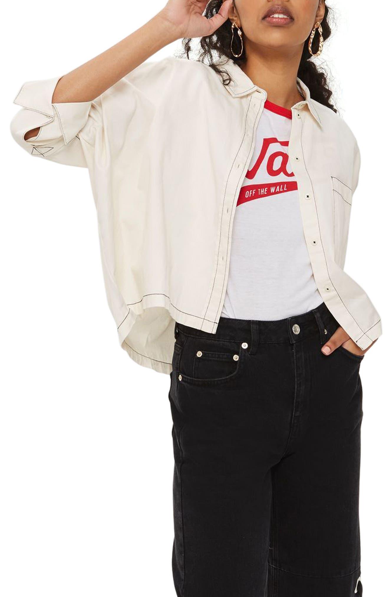 Main Image - Topshop Contrast Stitch Boxy Shirt