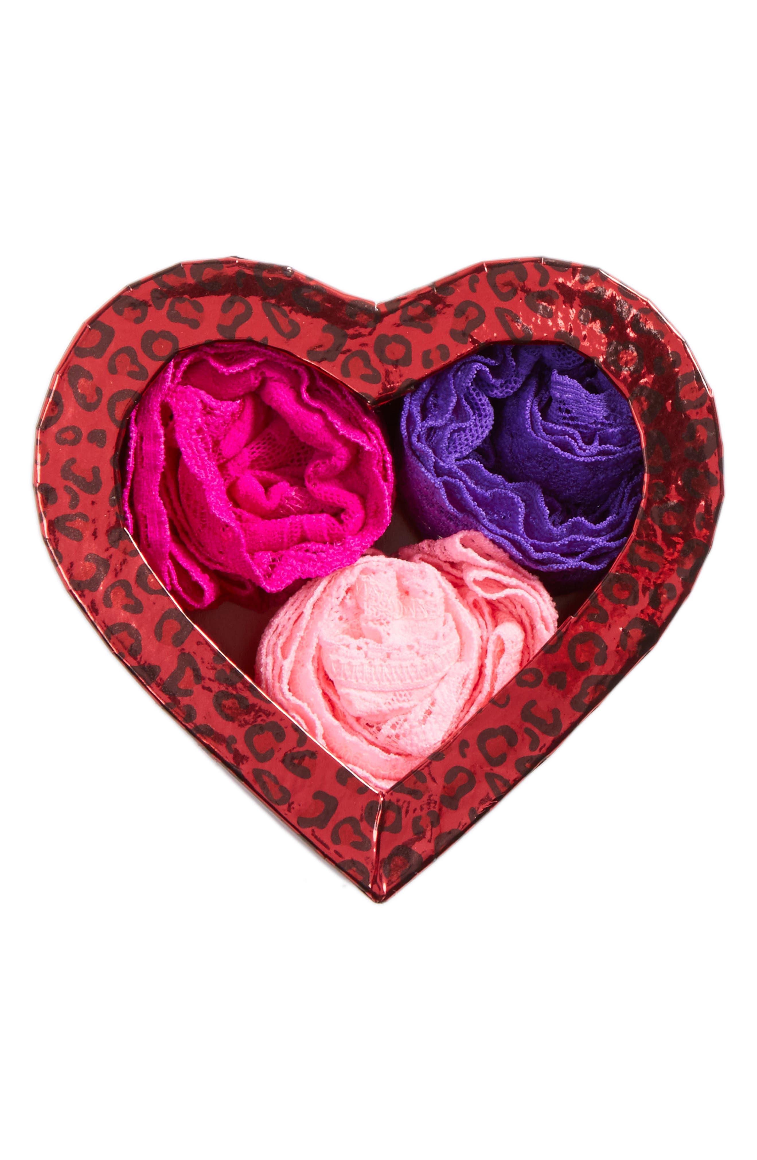 'Hugs N Kisses' Boxed Low Rise Thongs,                         Main,                         color, Cherry Blossom/ Royal