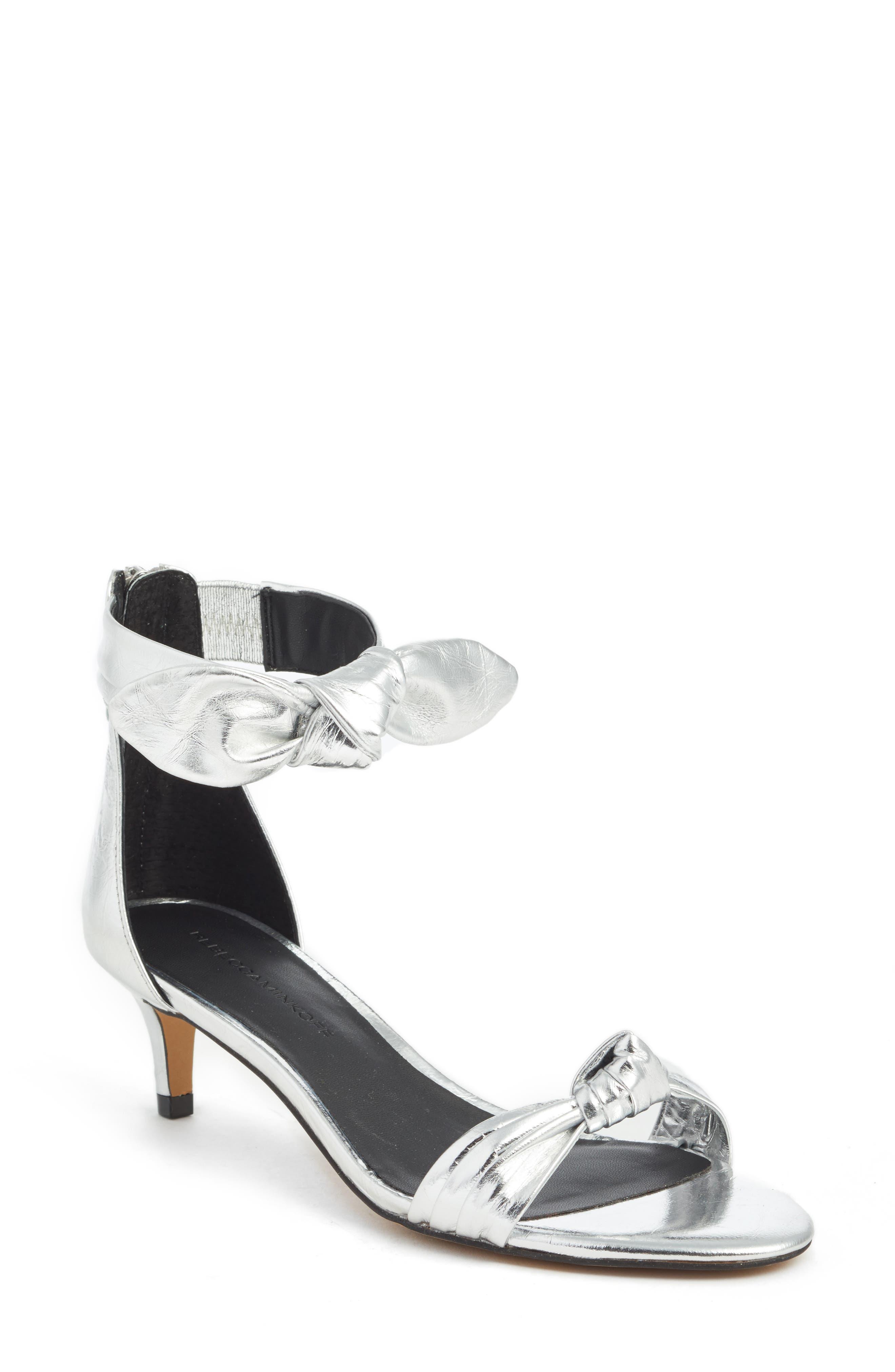 Kaley Knotted Kitten Heel Sandal,                             Main thumbnail 1, color,                             Silver Metallic Leather
